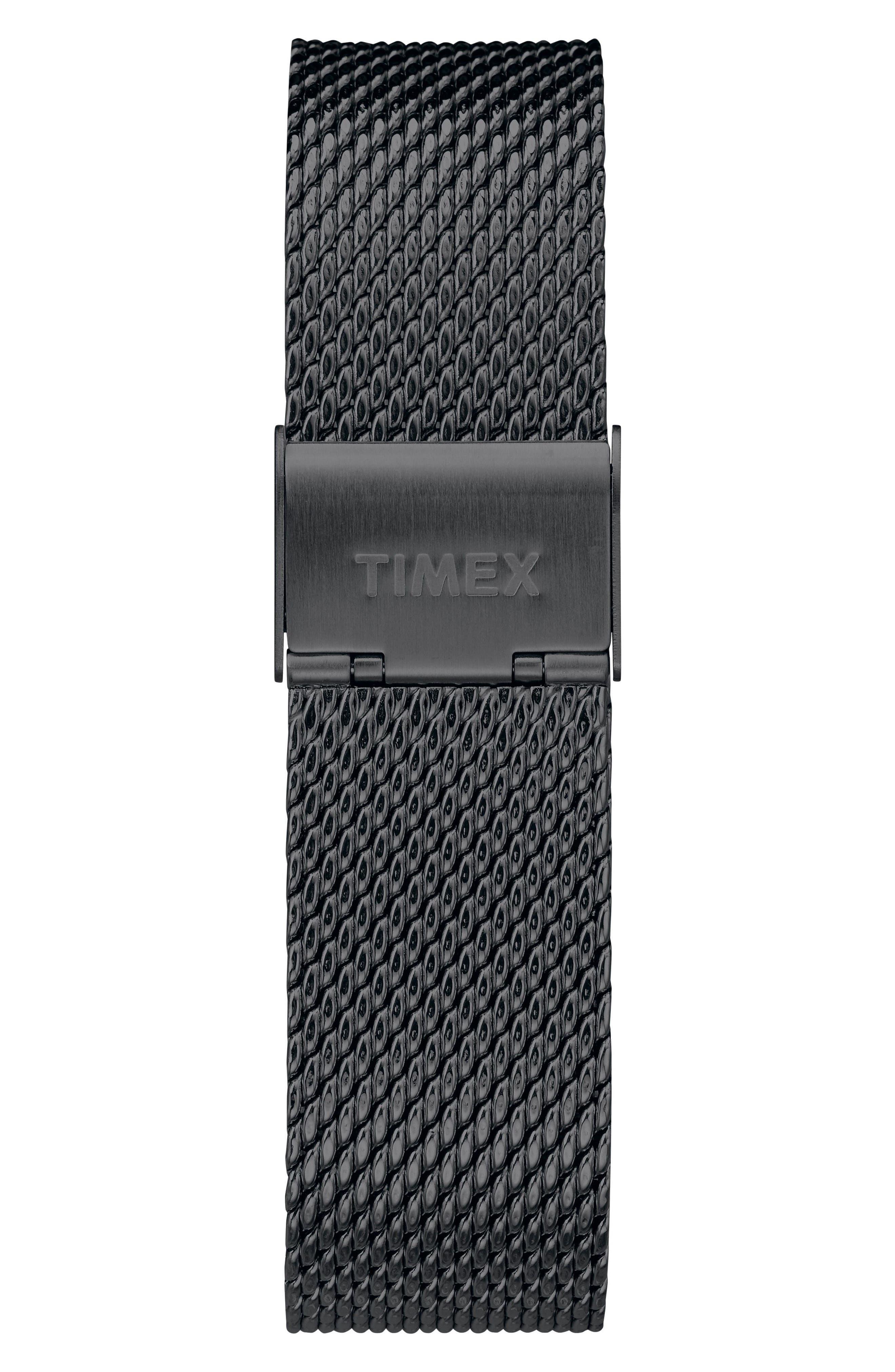 TIMEX<SUP>®</SUP>, Fairfield Chronograph Mesh Strap Watch, 41mm, Alternate thumbnail 3, color, BLACK