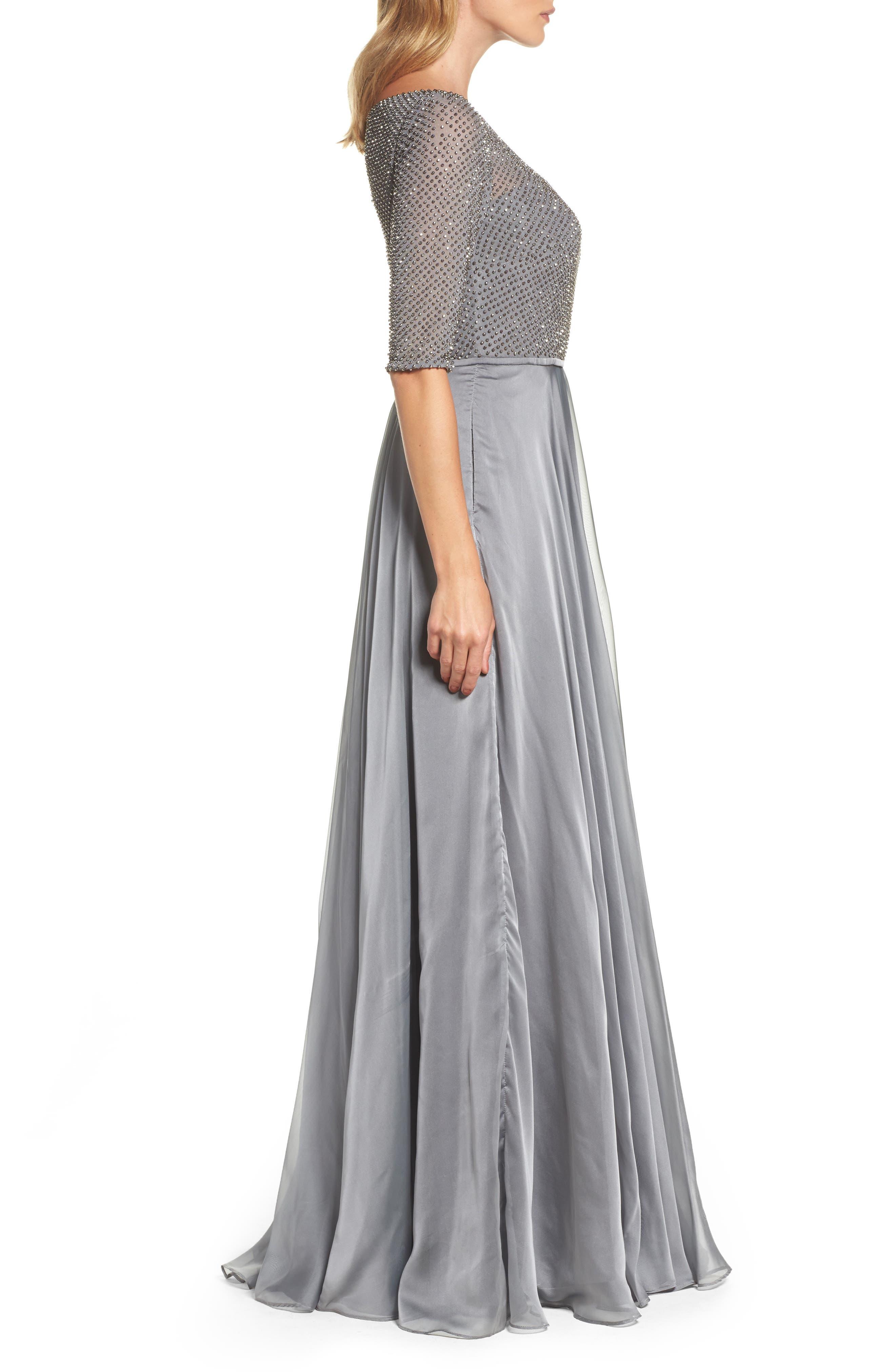 LA FEMME, Embellished Bodice Gown, Alternate thumbnail 3, color, PLATINUM