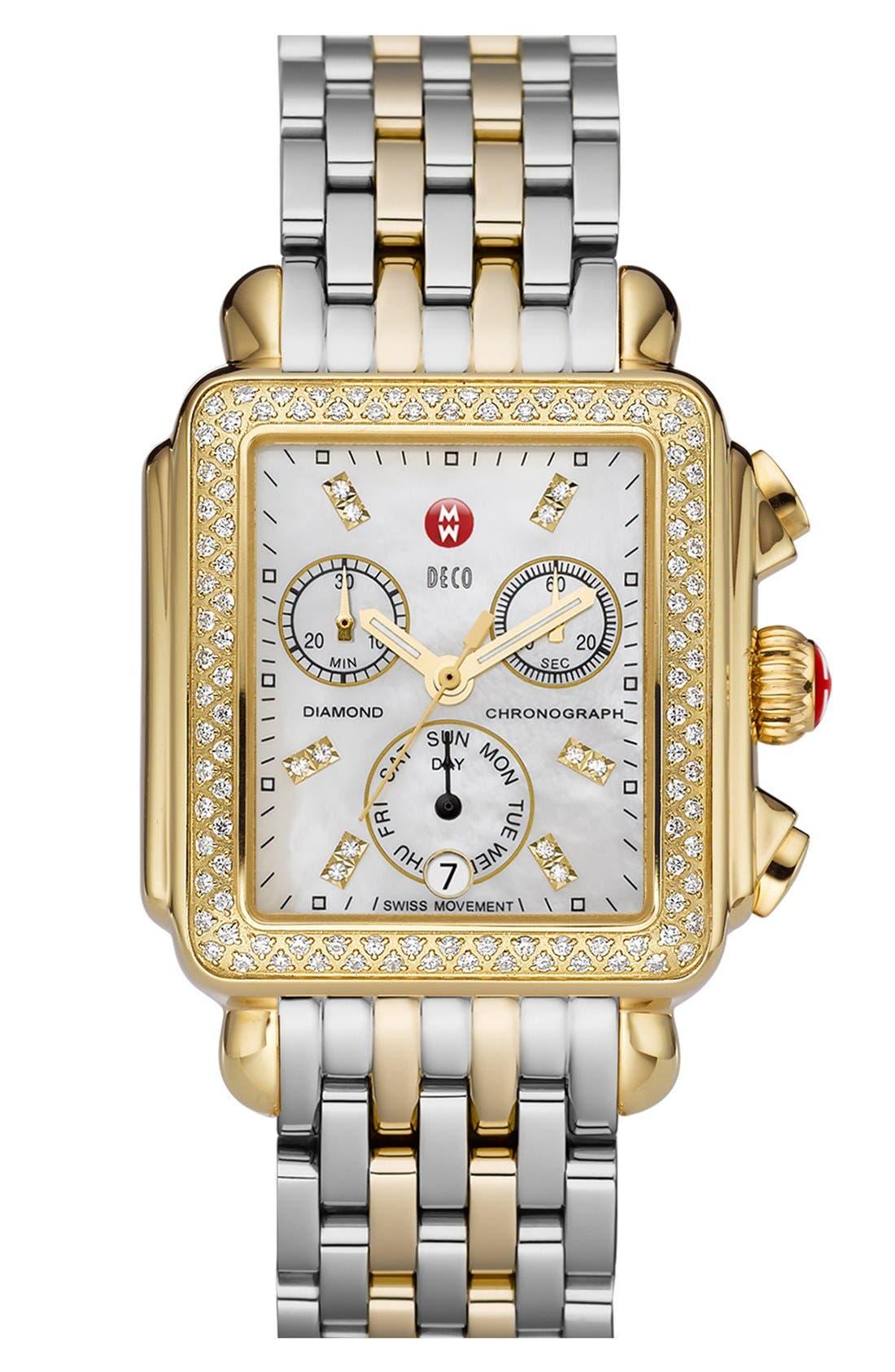 MICHELE, Deco 18mm Two-Tone Bracelet Watchband, Alternate thumbnail 6, color, SILVER/ GOLD