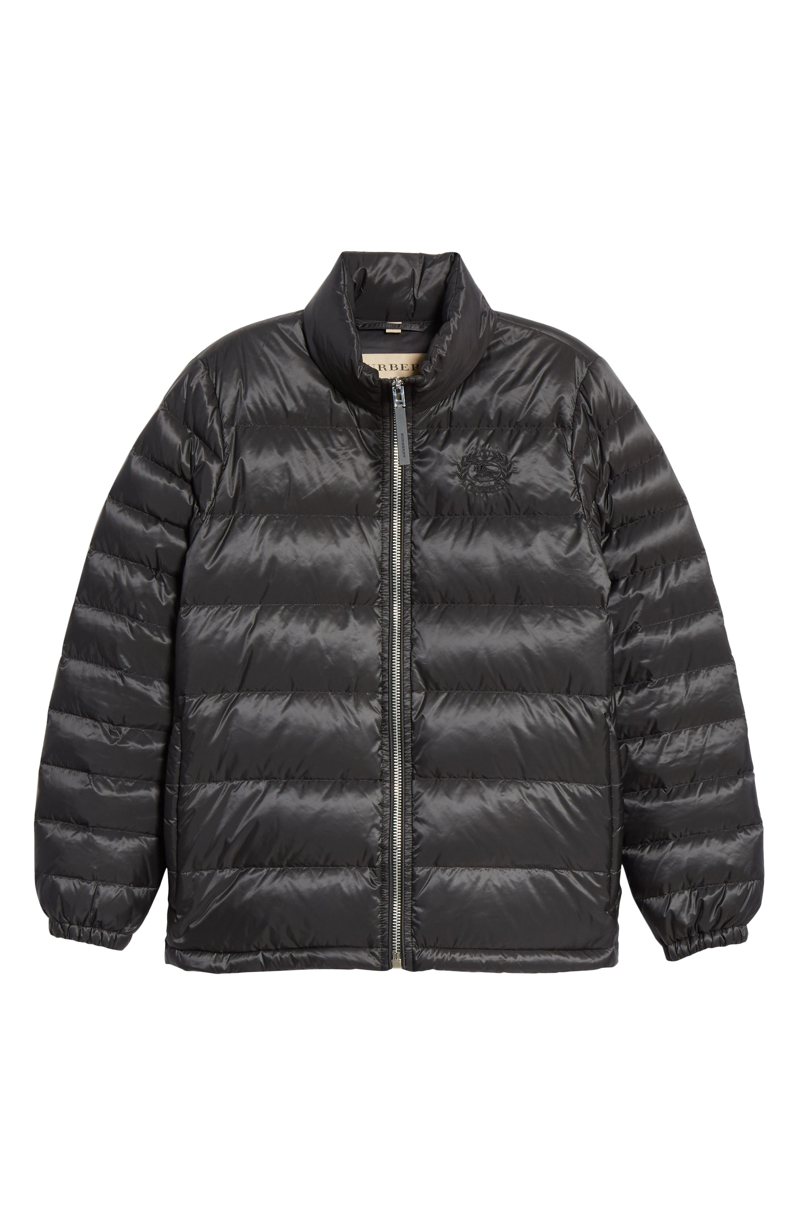 BURBERRY, Smethwick Archive Logo Quilted Down Puffer Coat, Alternate thumbnail 6, color, BLACK