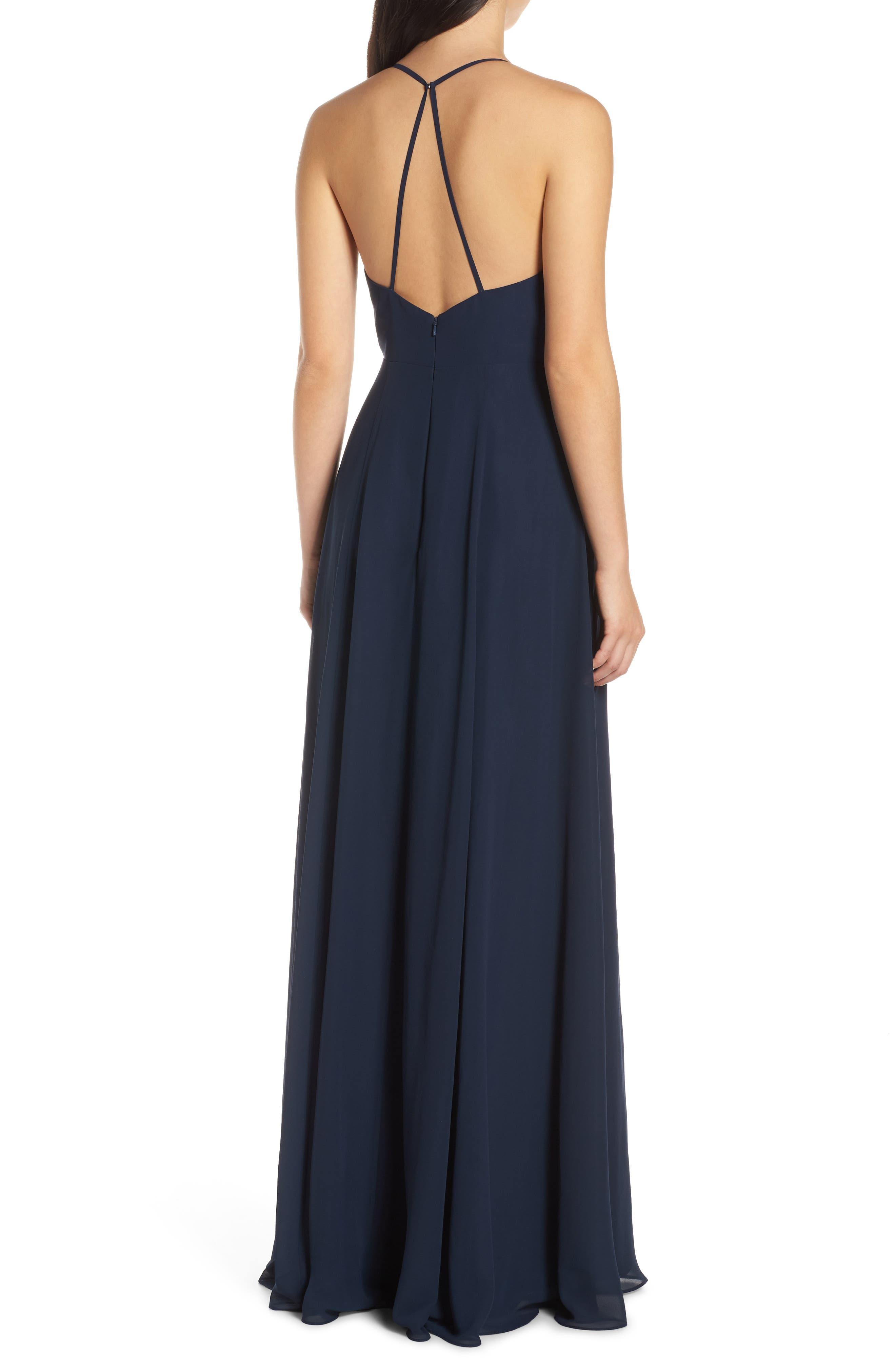 JENNY YOO, Bryce Surplice V-Neck Chiffon Evening Dress, Alternate thumbnail 2, color, NAVY