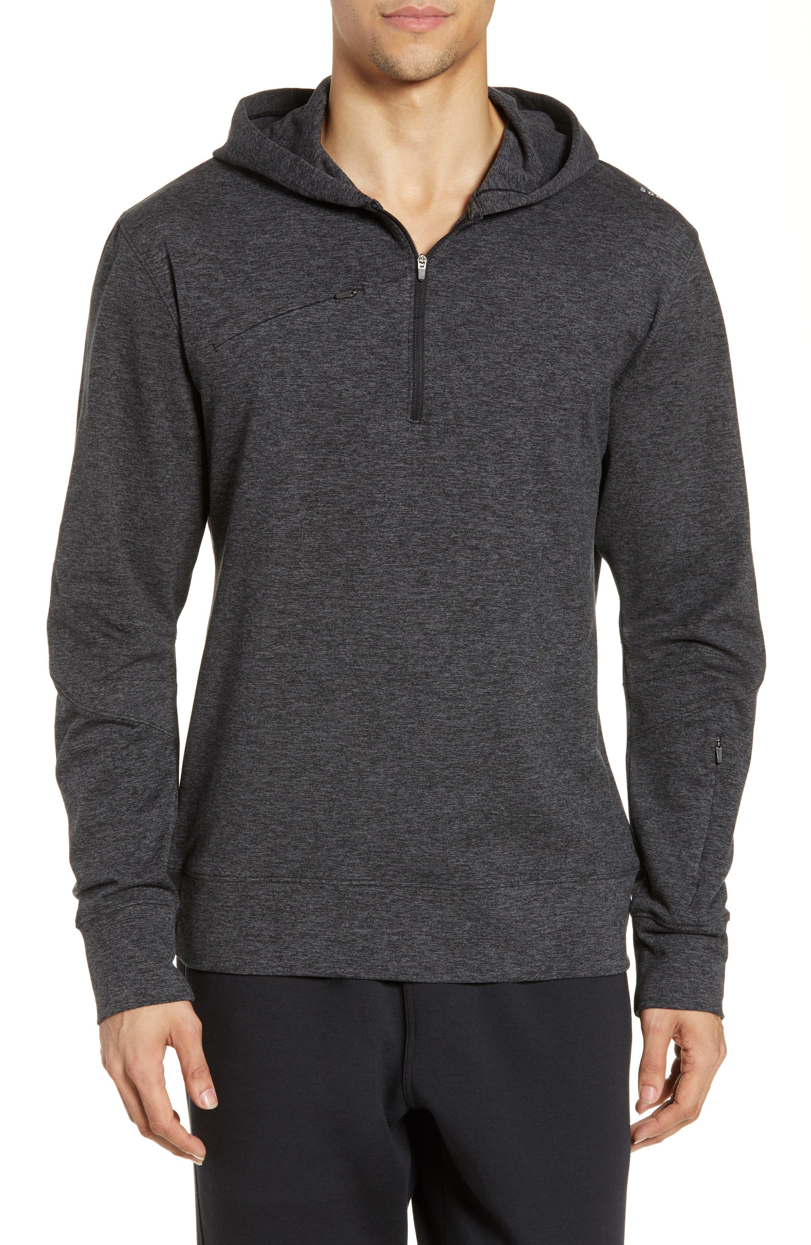 SODO, Elevate Hooded Sweatshirt, Main thumbnail 1, color, HEATHER CHARCOAL BLACK/ BLACK