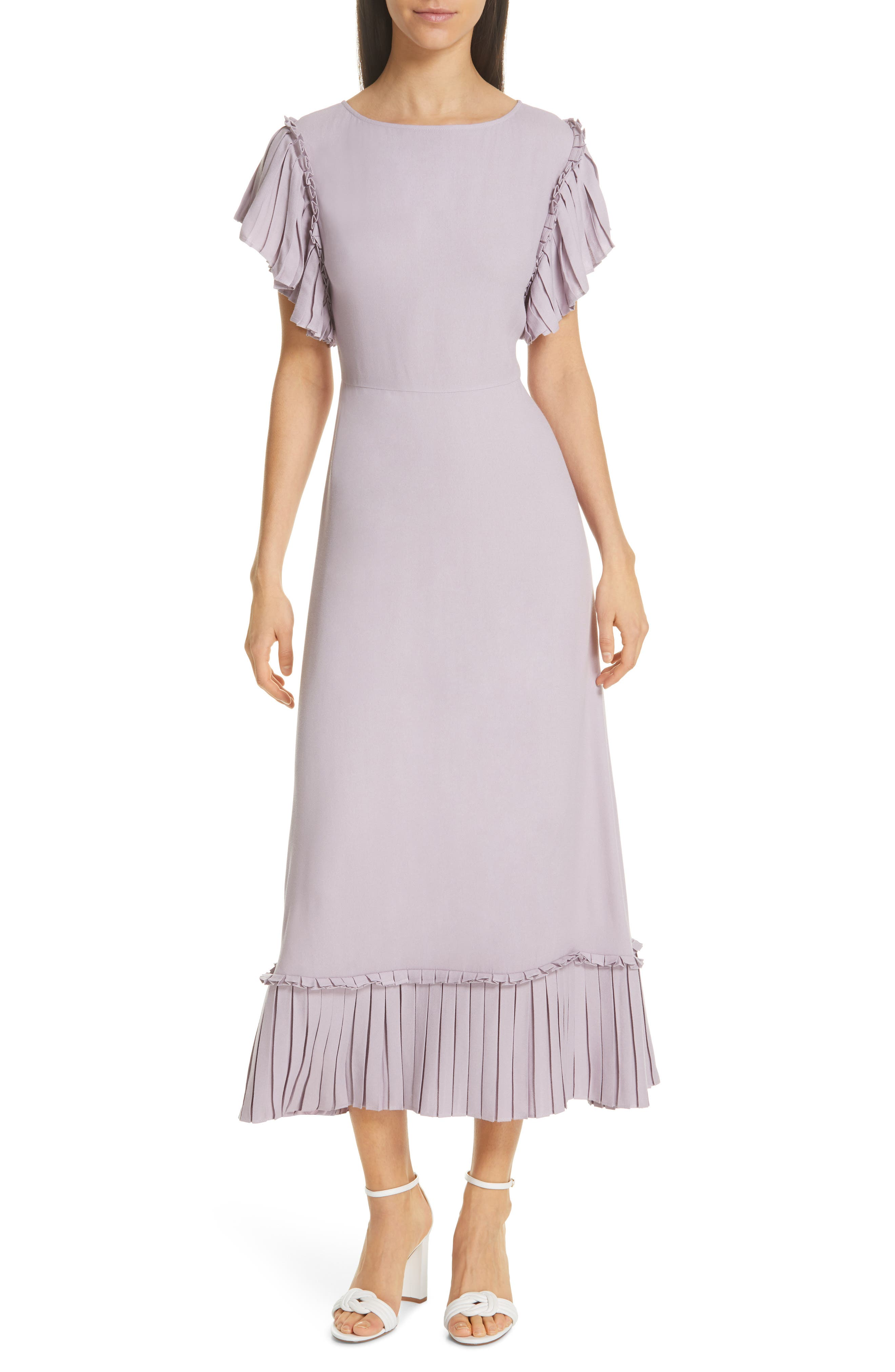 Kate Spade New York Pleat Trim Crepe Midi Dress, Purple