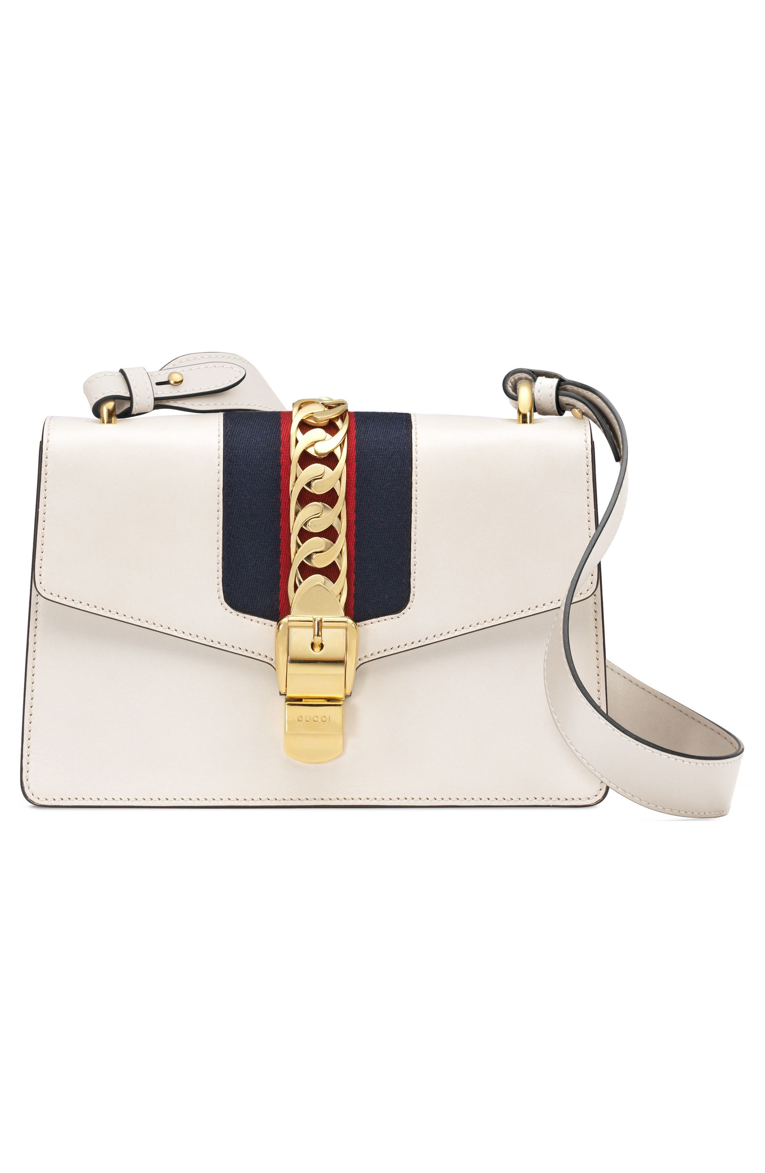 GUCCI, Small Sylvie Leather Shoulder Bag, Alternate thumbnail 5, color, WHITE
