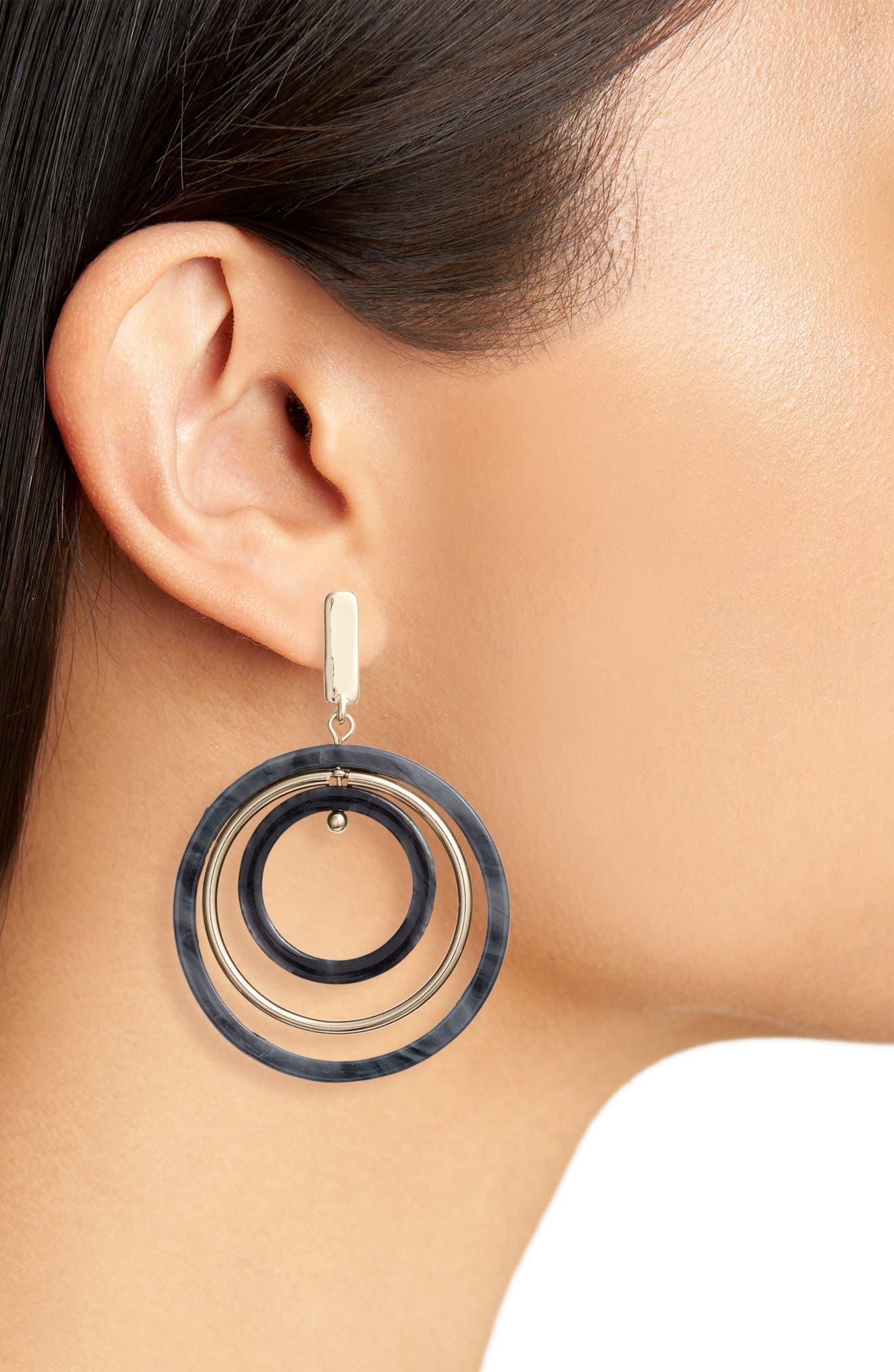 HALOGEN<SUP>®</SUP>, Circle Drop Earrings, Alternate thumbnail 2, color, 001