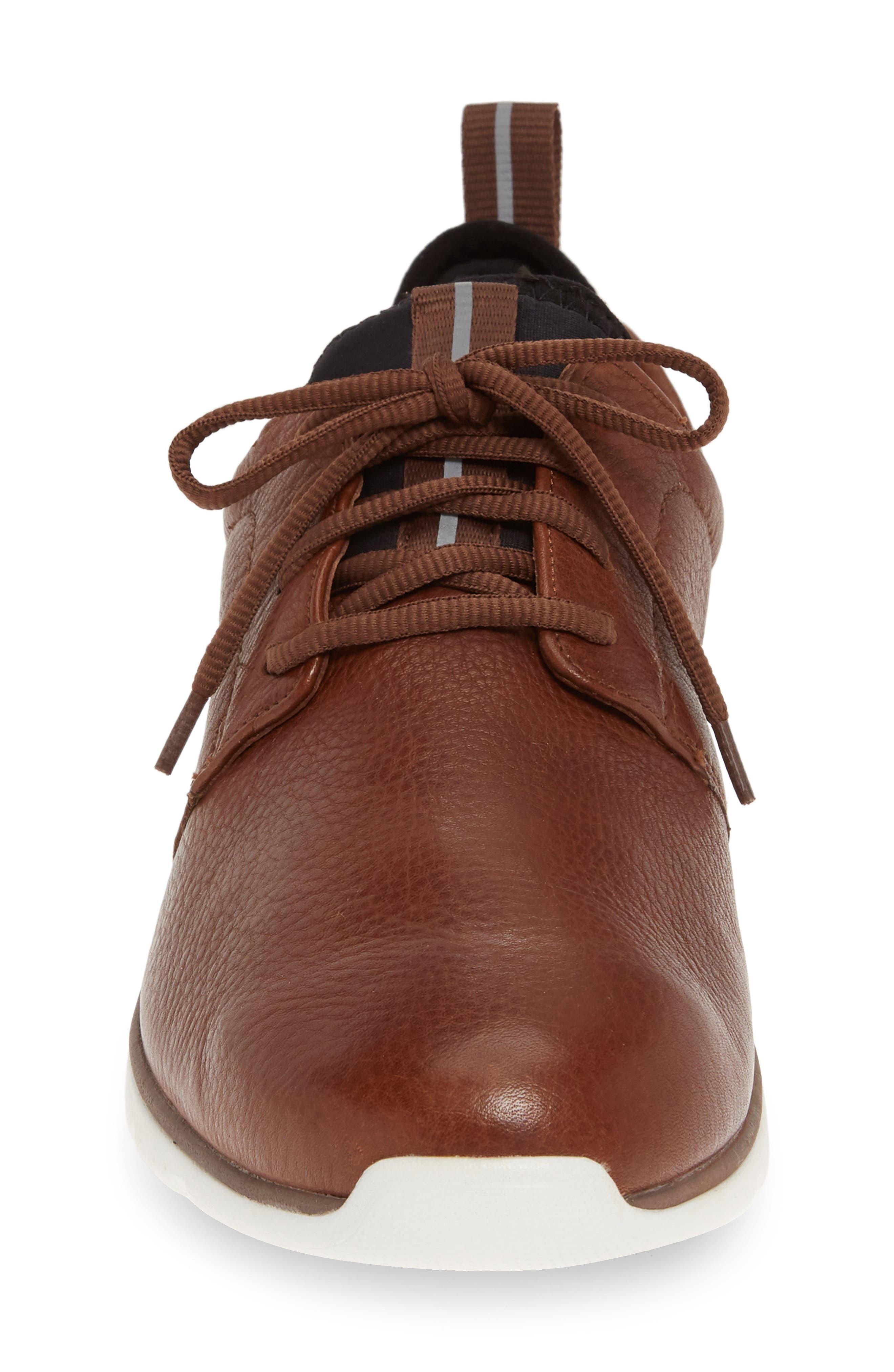 JOHNSTON & MURPHY, Prentiss XC4<sup>®</sup> Waterproof Low Top Sneaker, Alternate thumbnail 4, color, MAHOGANY LEATHER