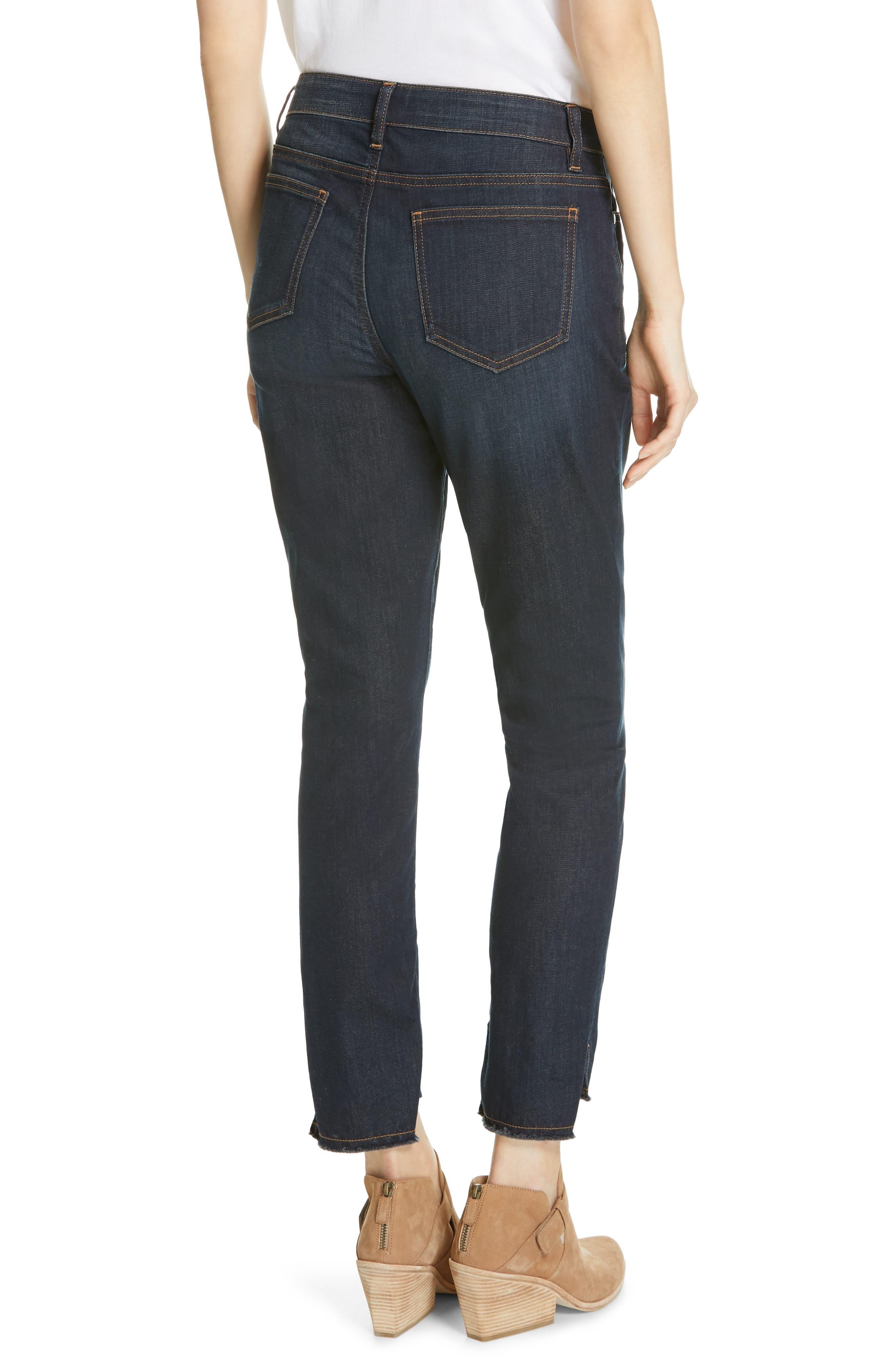 EILEEN FISHER, Raw Step Hem Slim Ankle Jeans, Alternate thumbnail 2, color, UTILITY BLUE