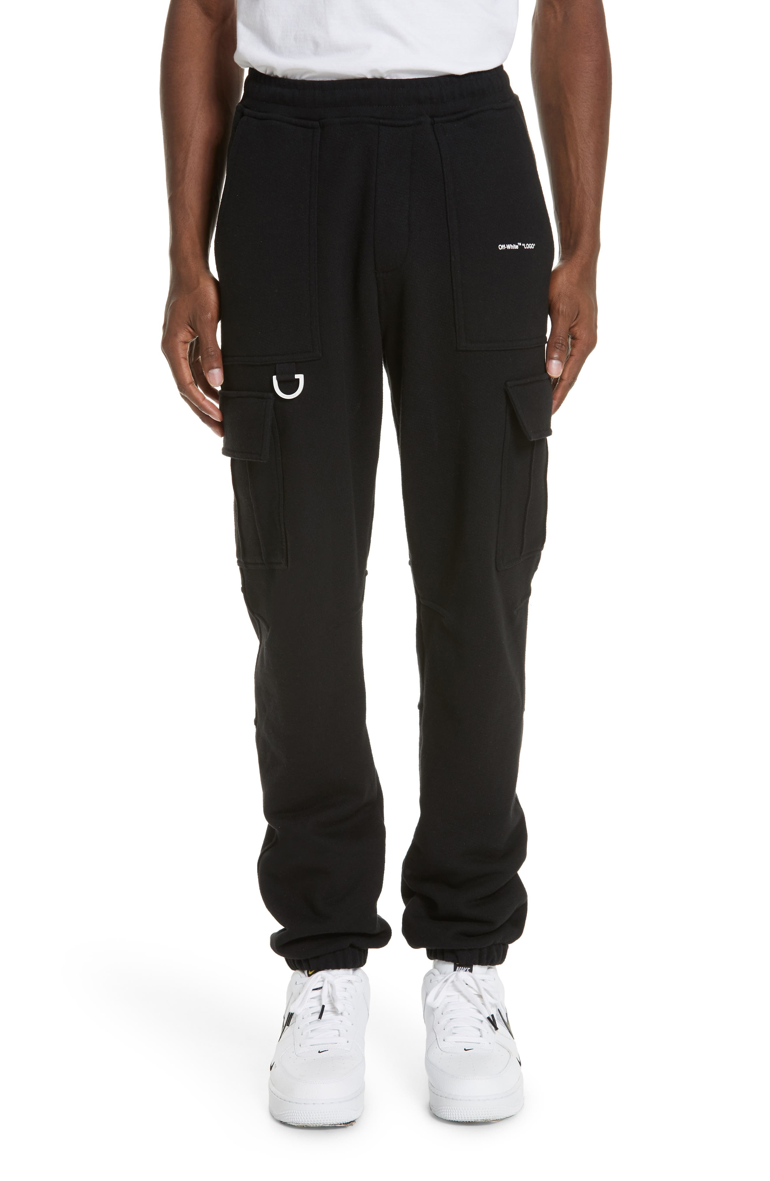 OFF-WHITE, Cargo Jogger Pants, Main thumbnail 1, color, BLACK