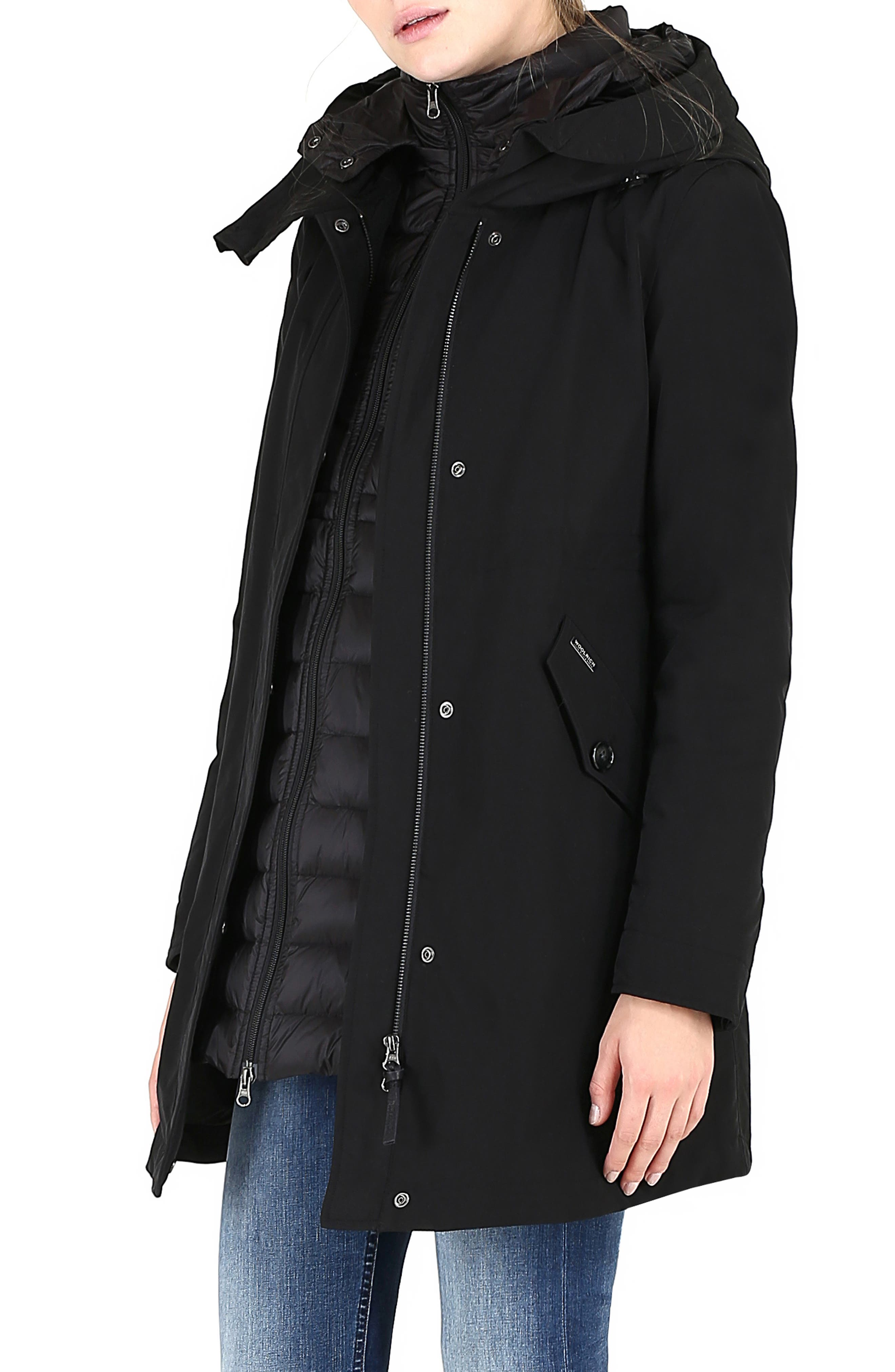WOOLRICH, Long Military 3-in-1 Parka, Alternate thumbnail 4, color, 001