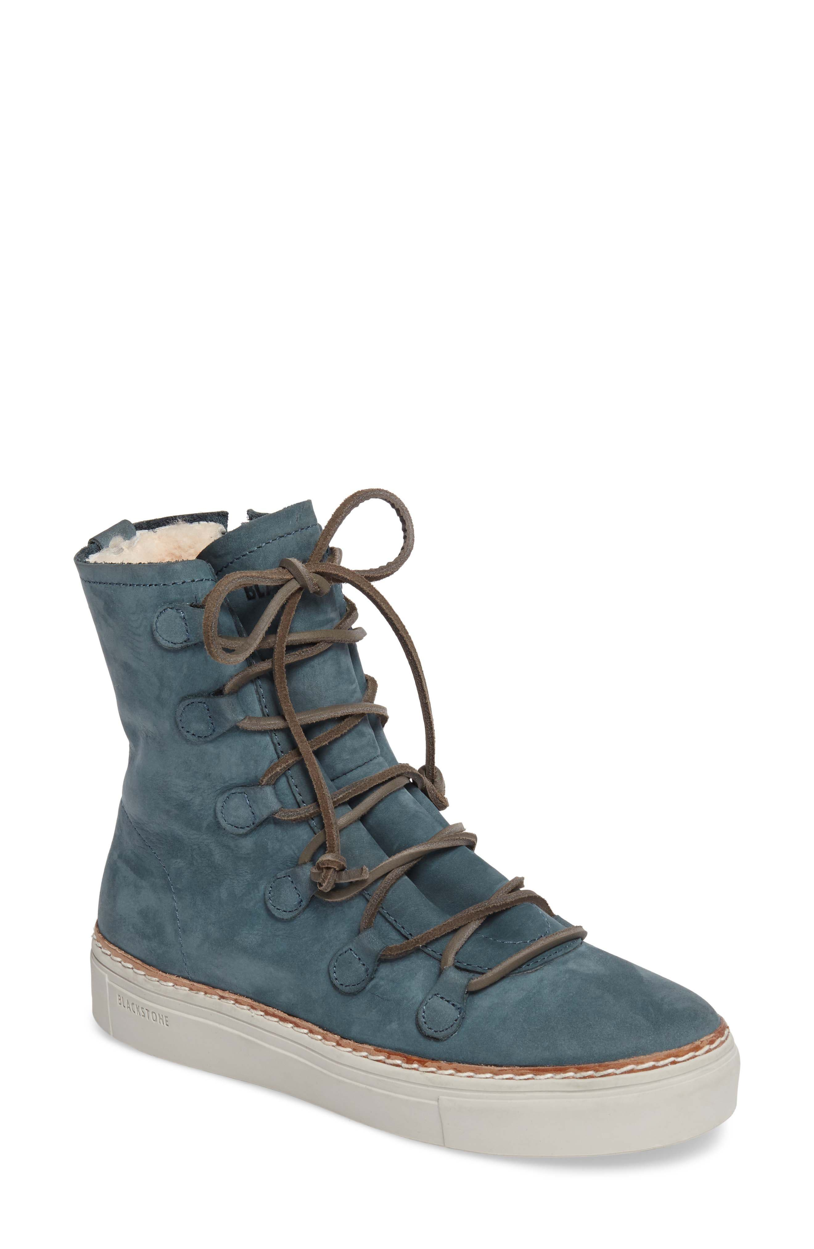 Blackstone Ol26 Genuine Shearling Lined Lace-Up Bootie, Blue