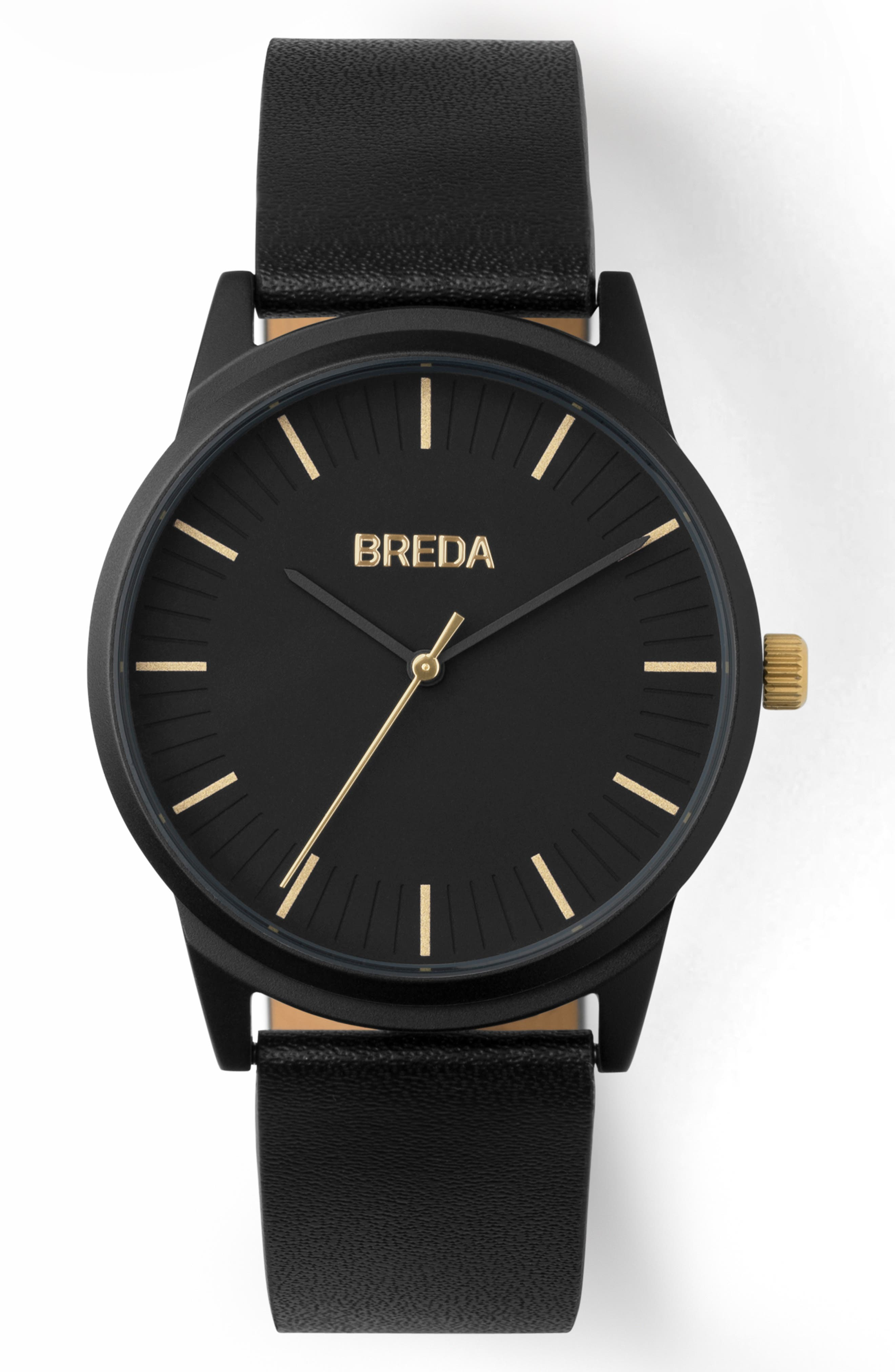 BREDA, Bresson Leather Strap Watch, 39mm, Main thumbnail 1, color, 001