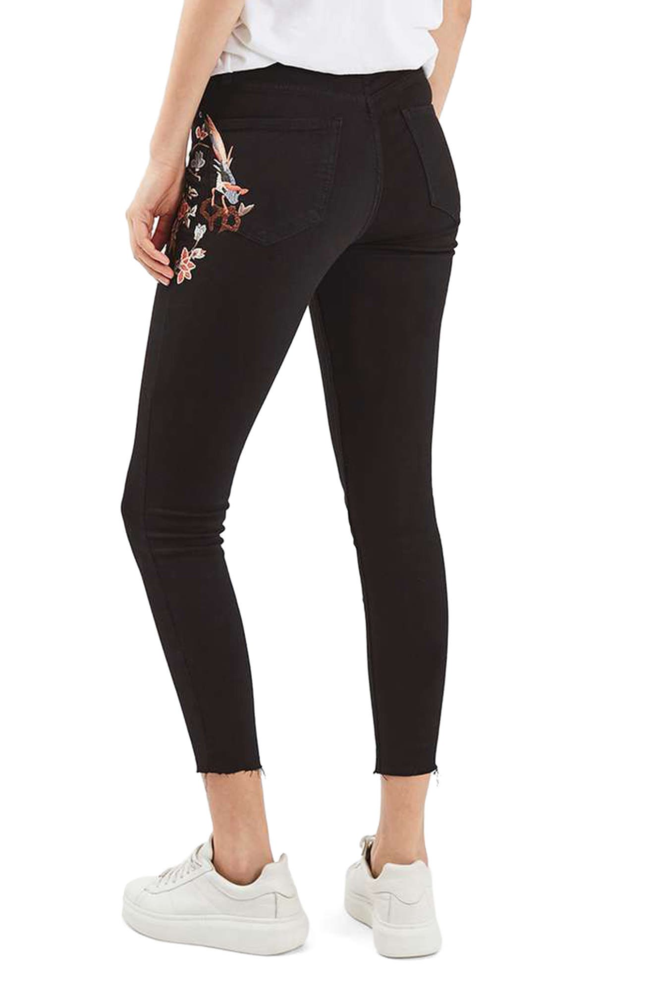 TOPSHOP, Jamie Embroidered Skinny Jeans, Alternate thumbnail 2, color, 001
