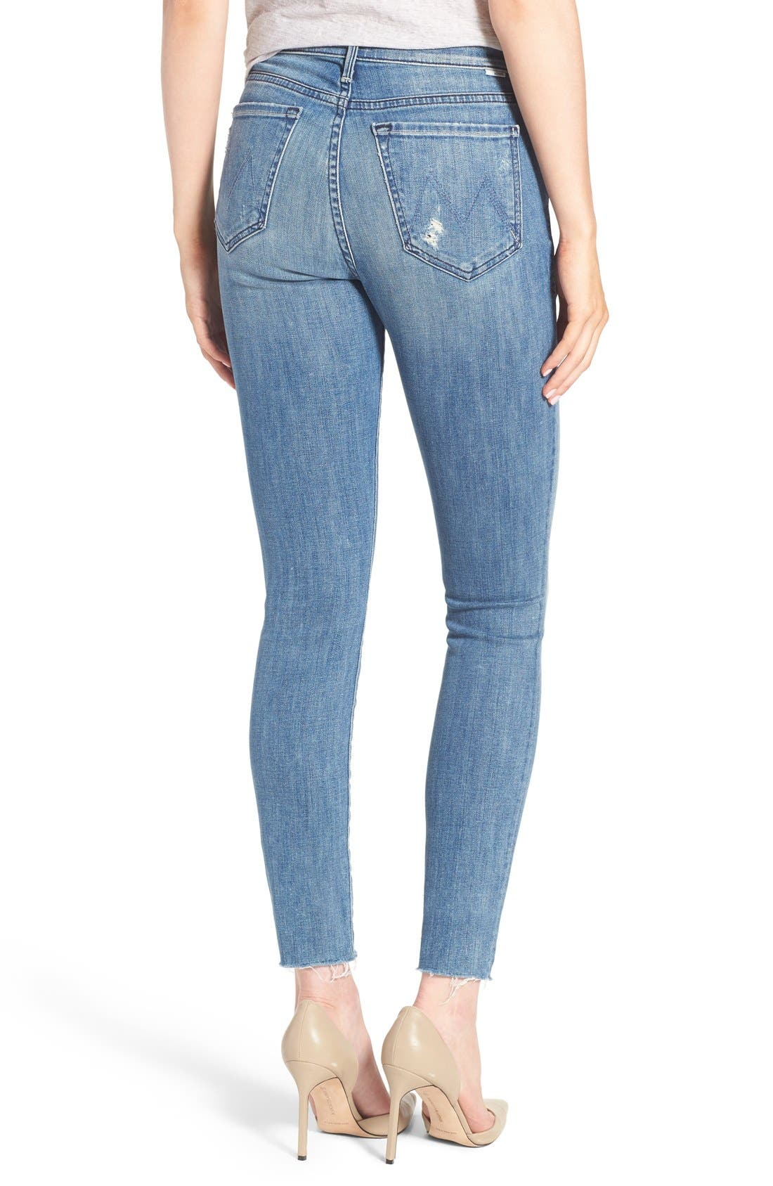 MOTHER, The Stunner Frayed Ankle Skinny Jeans, Alternate thumbnail 9, color, GRAFITTI GIRL