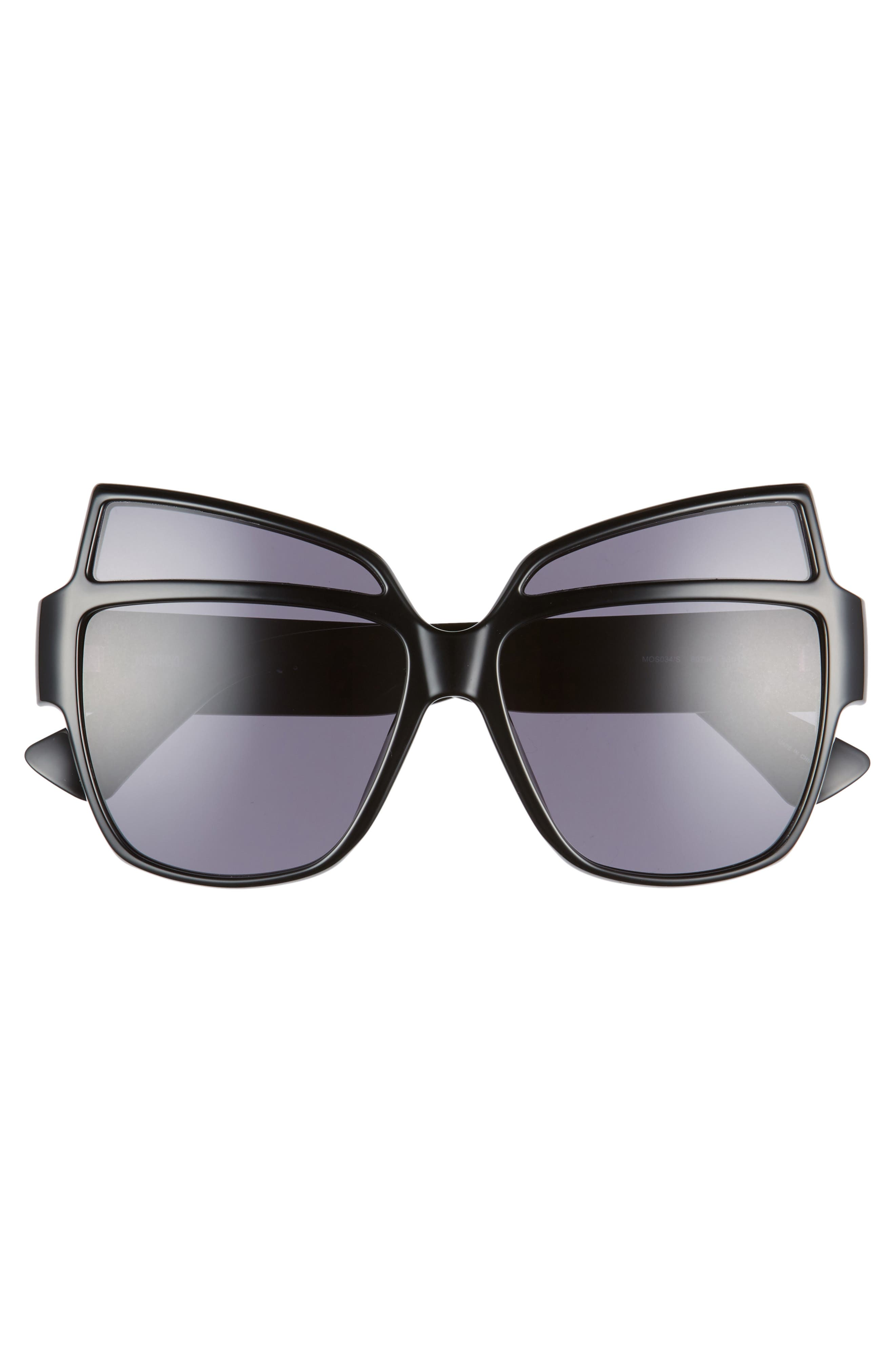 MOSCHINO, 58mm Butterfly Sunglasses, Alternate thumbnail 3, color, BLACK