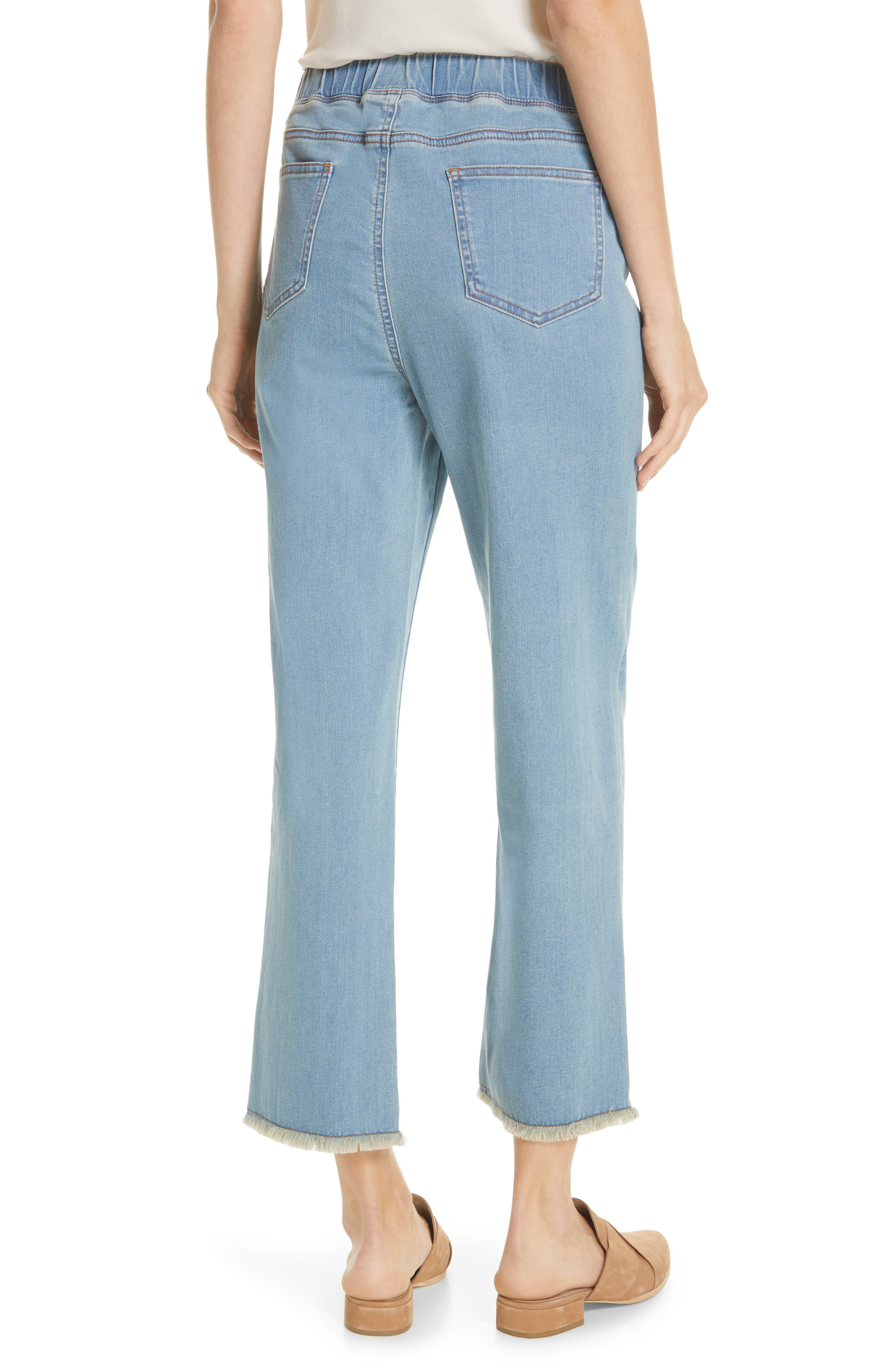 EILEEN FISHER, Frayed Hem Pull-On Ankle Jeans, Alternate thumbnail 2, color, FROST