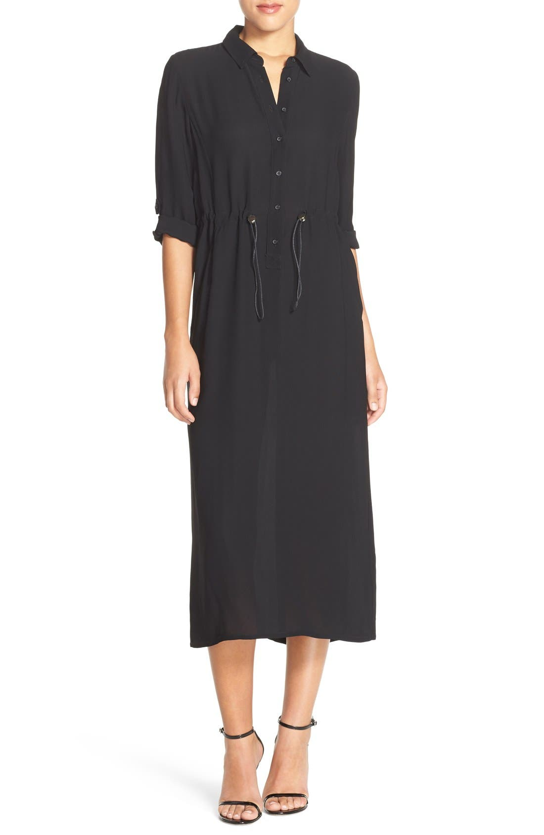 FRENCH CONNECTION, 'Cecil' Midi Shirtdress, Main thumbnail 1, color, 005