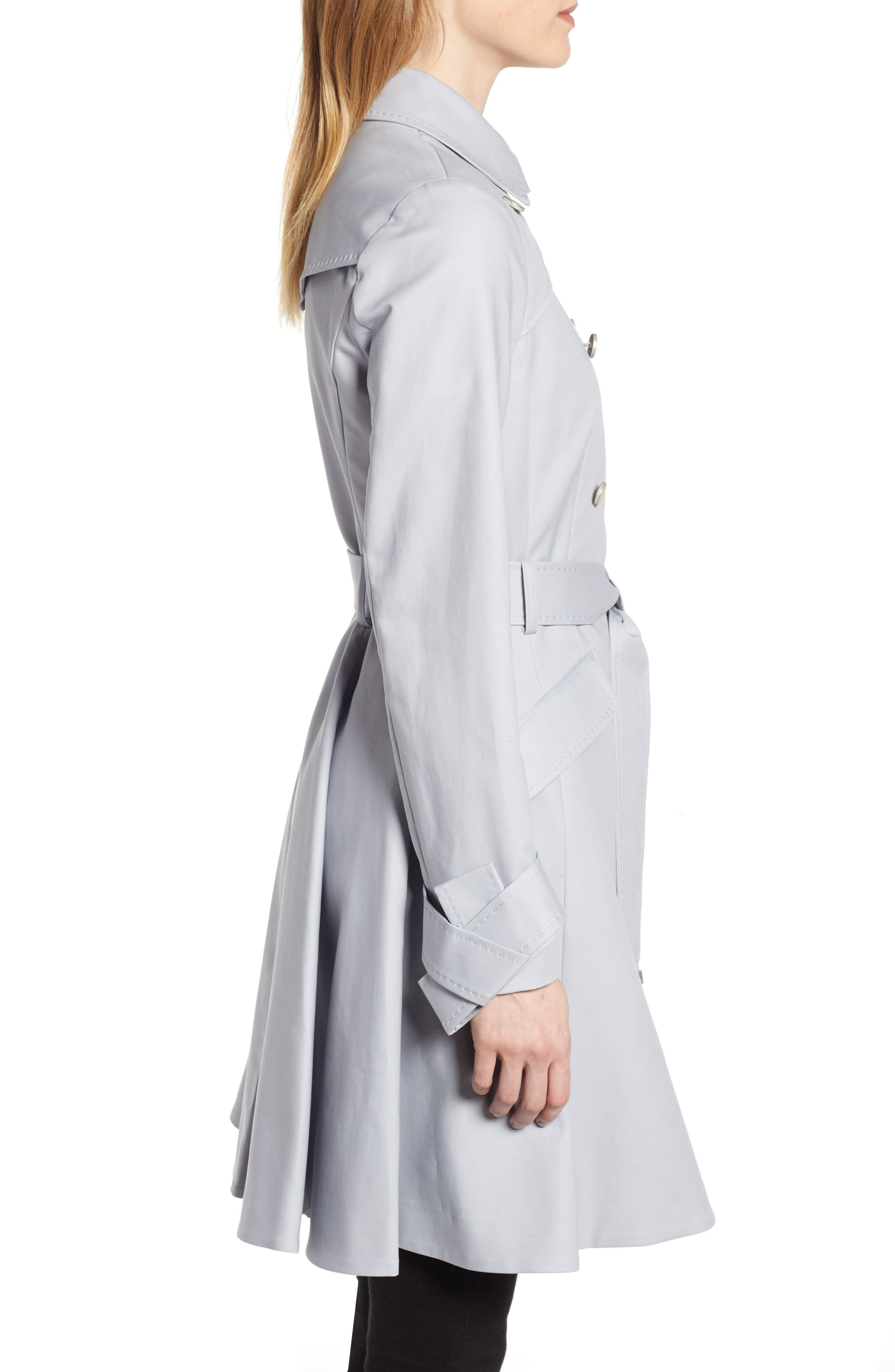 TED BAKER LONDON, Tie Cuff Detail Trench Coat, Alternate thumbnail 4, color, GREY