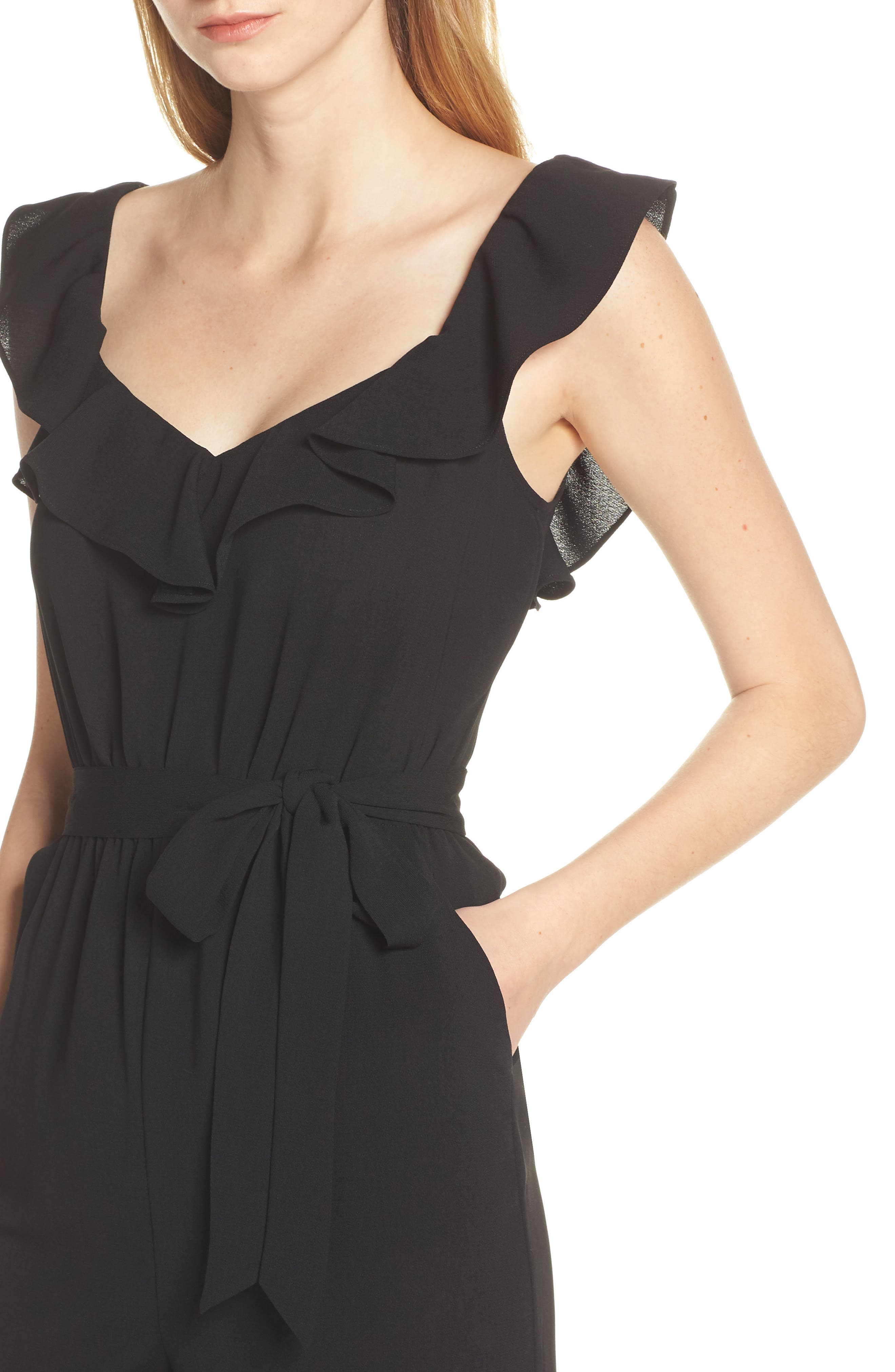 ALI & JAY, Say You Will Stay Crepe Jumpsuit, Alternate thumbnail 5, color, BLACK