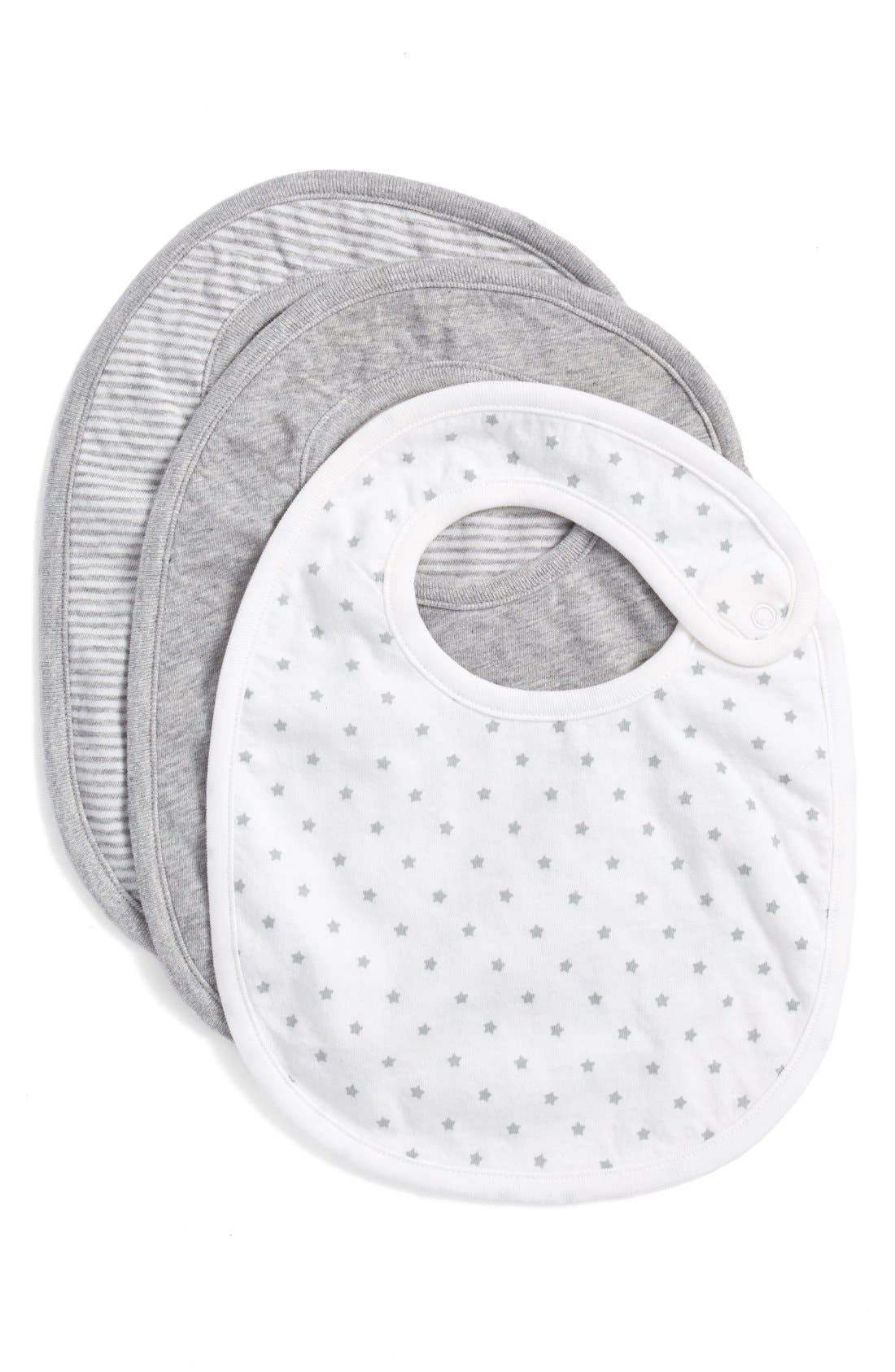 NORDSTROM BABY Snap Bibs, Main, color, GREY ASH HEATHER PACK