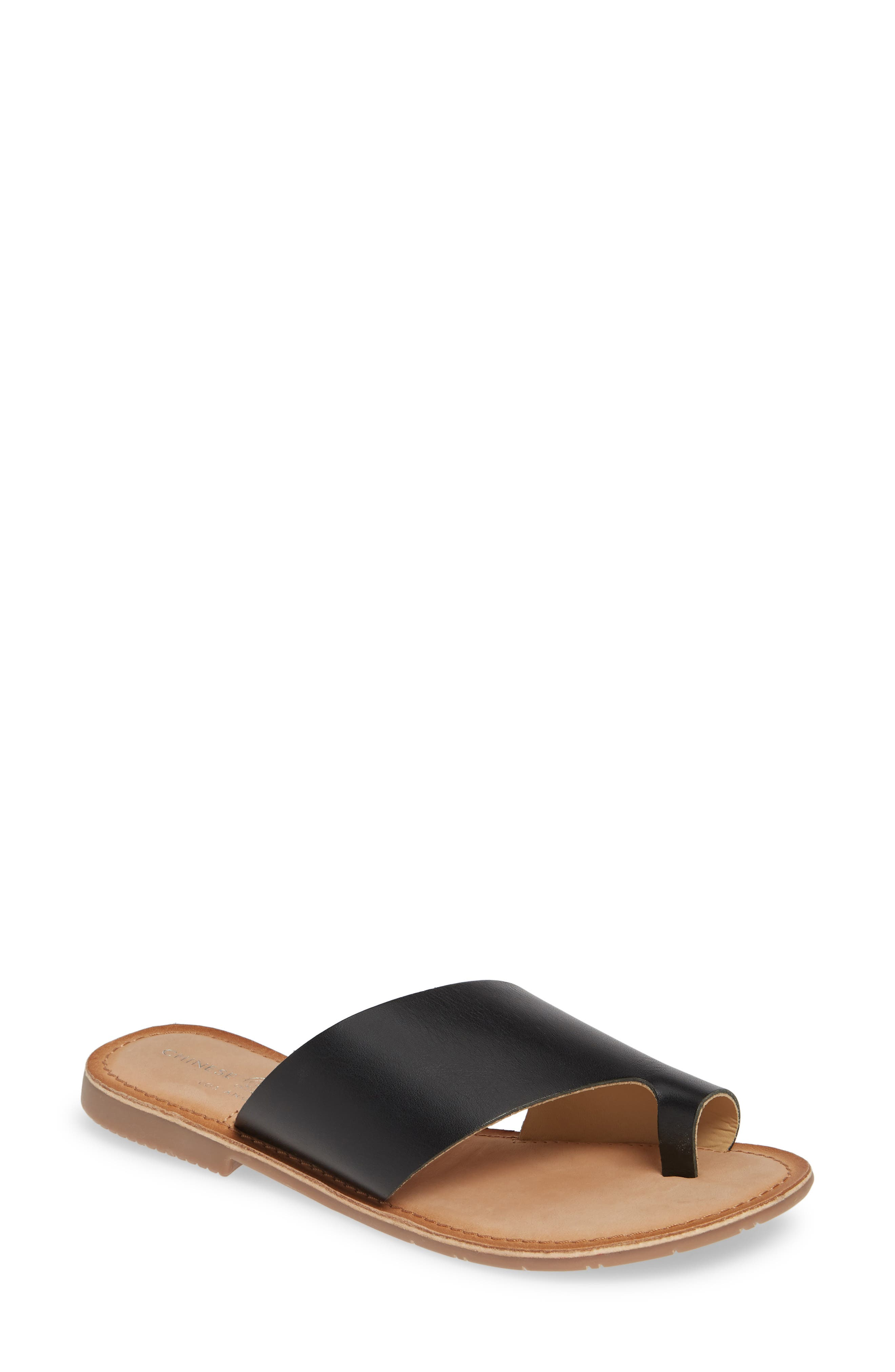 CHINESE LAUNDRY Gemmy Slide Sandal, Main, color, BLACK LEATHER