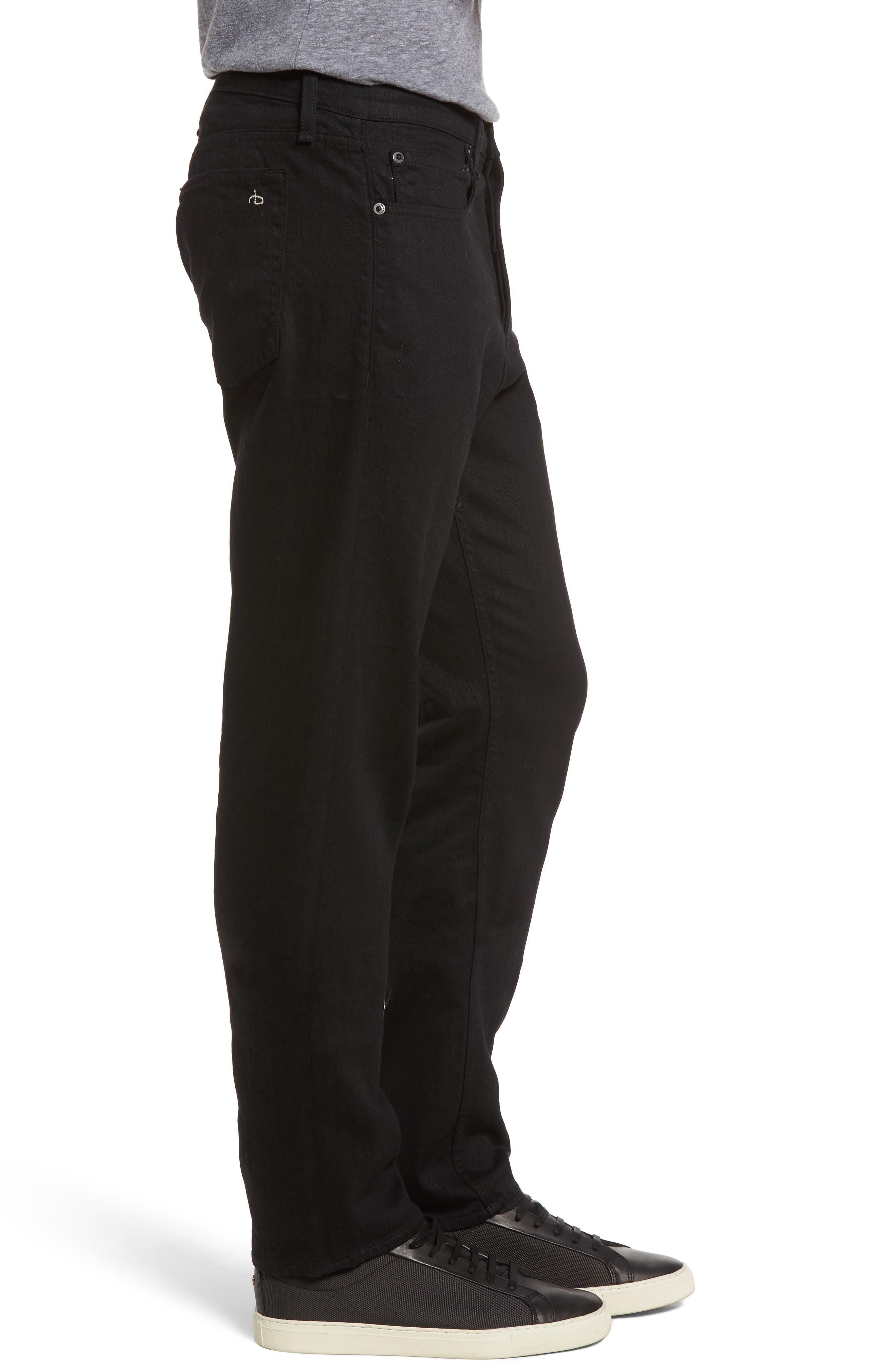 RAG & BONE, Fit 3 Slim Straight Leg Jeans, Alternate thumbnail 4, color, BLACK