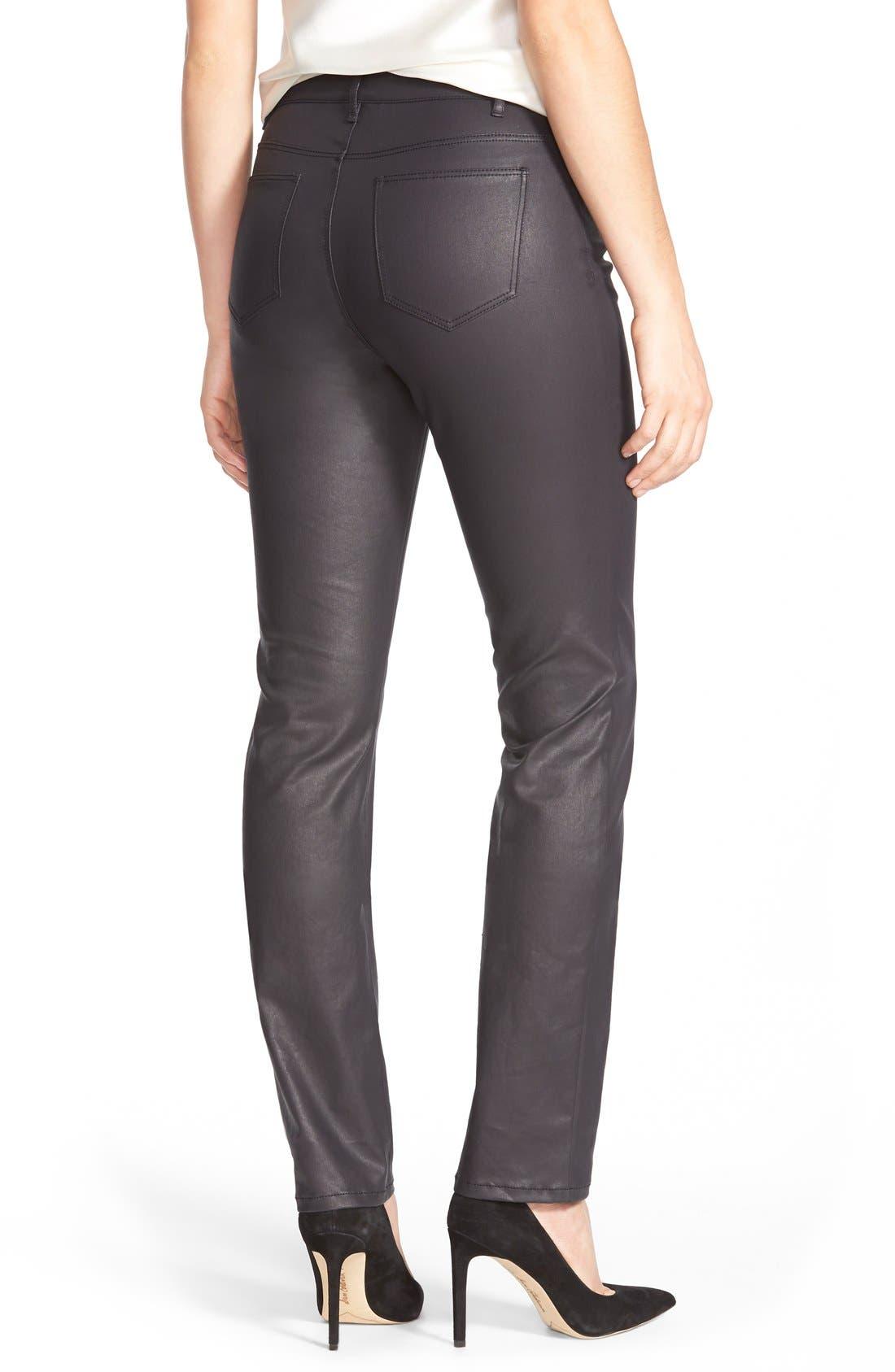 LAFAYETTE 148 NEW YORK, Waxed Denim Slim Leg Jeans, Alternate thumbnail 5, color, INK