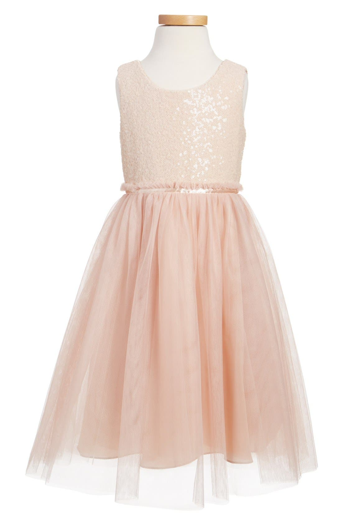 JENNY YOO, Collection Rosalie Sequin & Tulle Dress, Main thumbnail 1, color, BLUSH