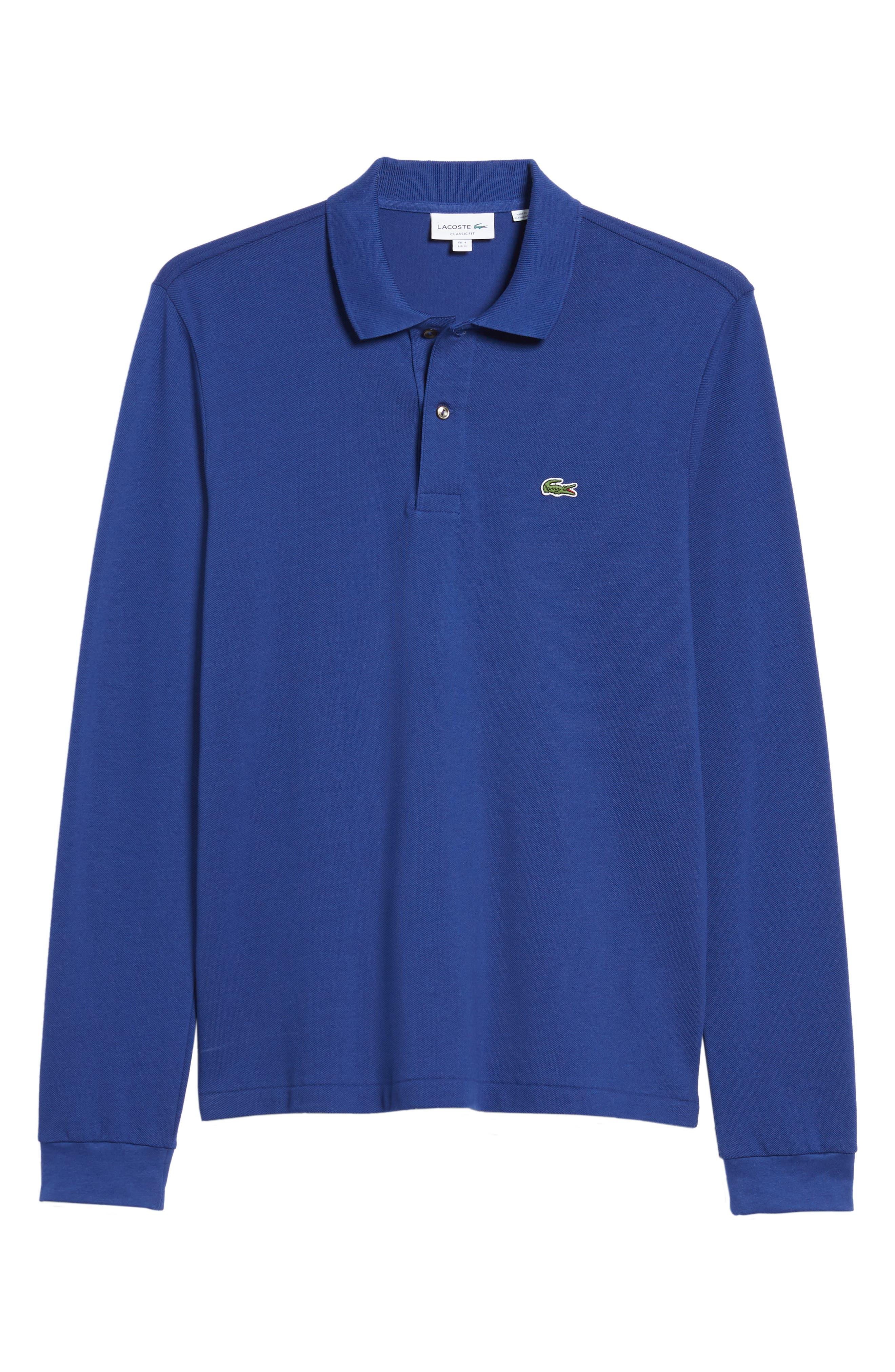 LACOSTE, Classic Fit Long Sleeve Piqué Polo, Alternate thumbnail 6, color, OCEAN