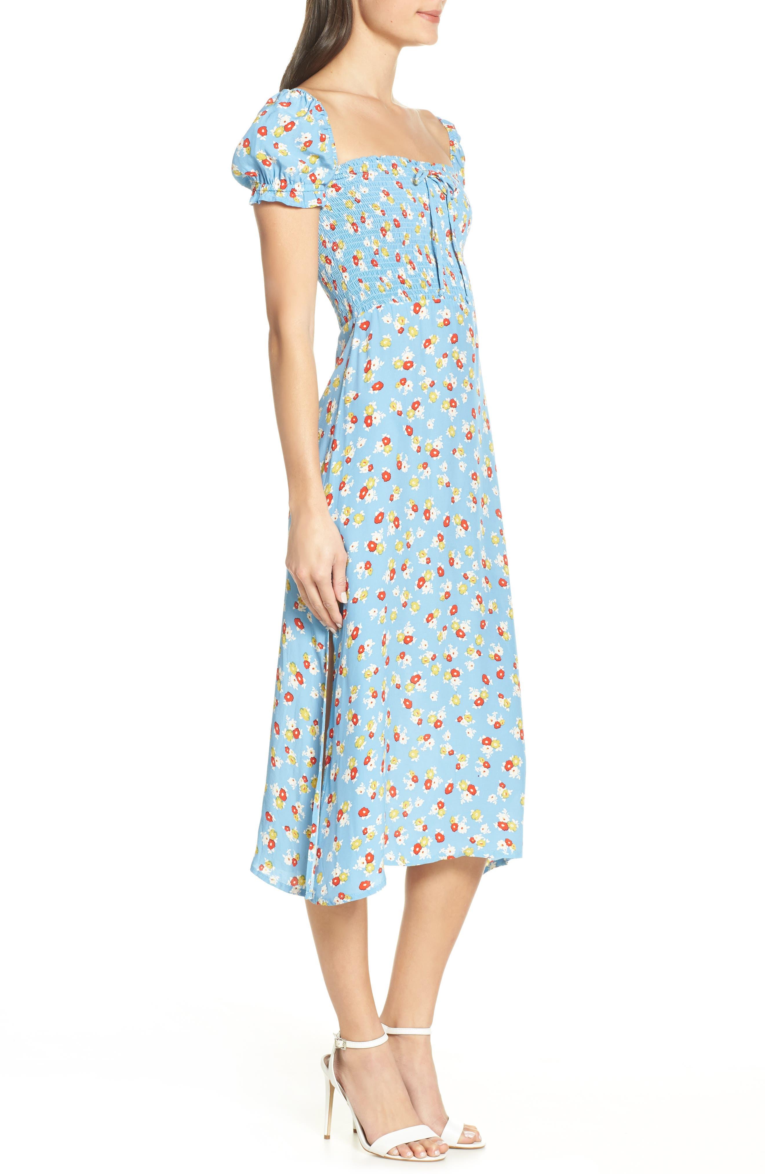 FAITHFULL THE BRAND, Castilo Jasmin Midi Dress, Alternate thumbnail 3, color, JASMIN FLORAL PRINT - BLUE