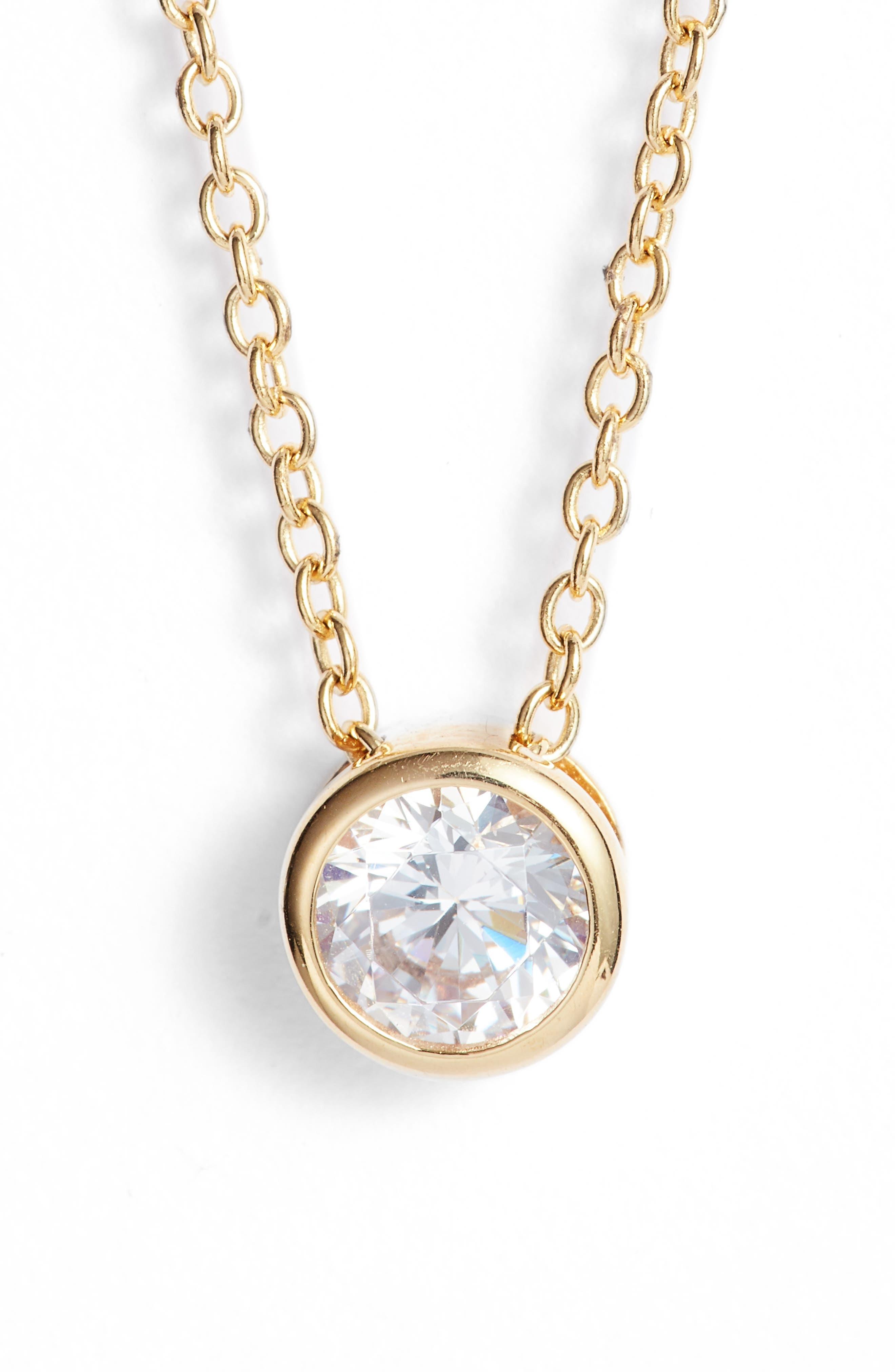 NORDSTROM, 0.5 ct tw Cubic Zirconia Pendant Necklace, Main thumbnail 1, color, GOLD