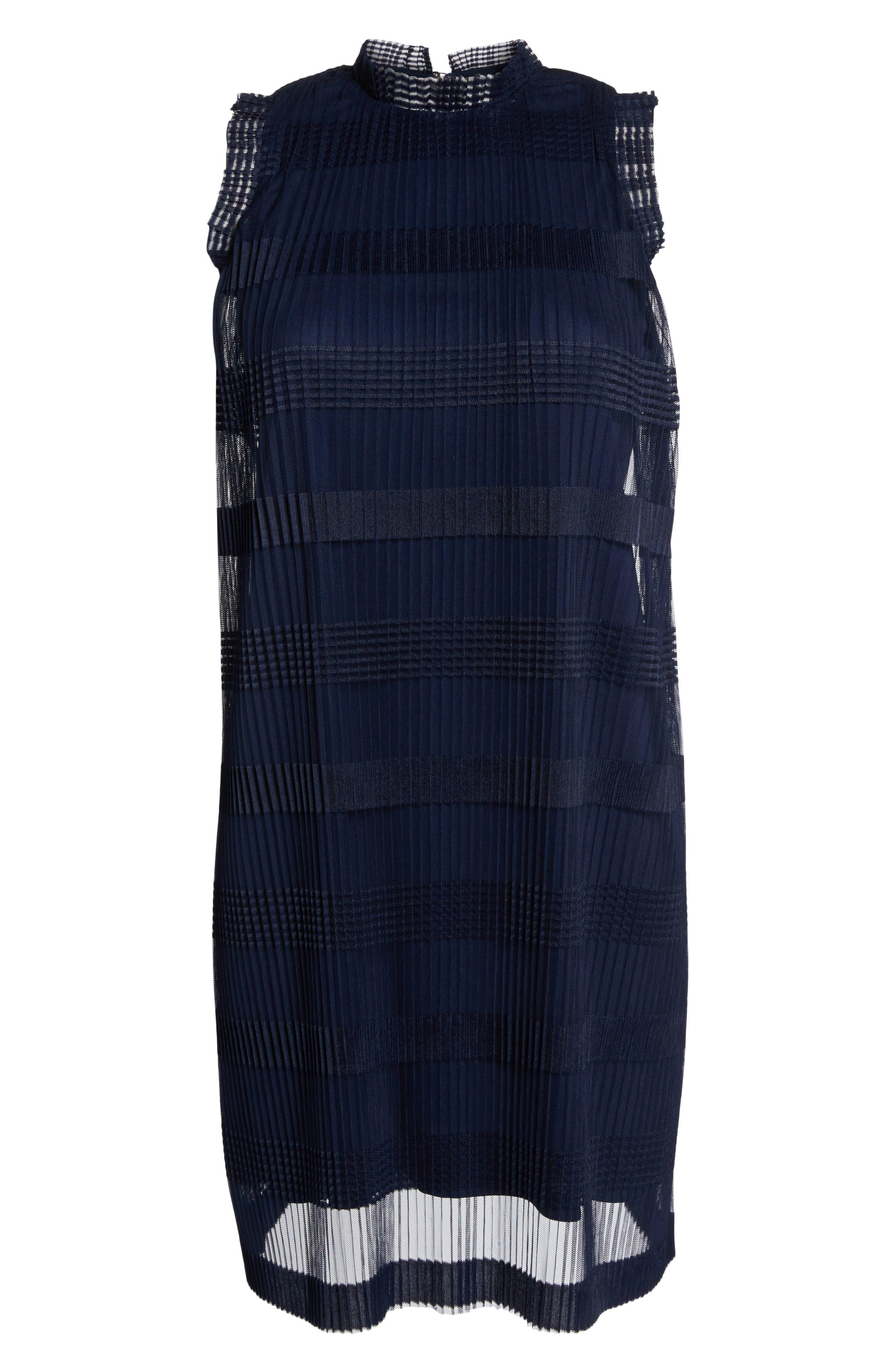 JULIA JORDAN, Stripe Pleated Chiffon Shift Dress, Alternate thumbnail 7, color, NAVY
