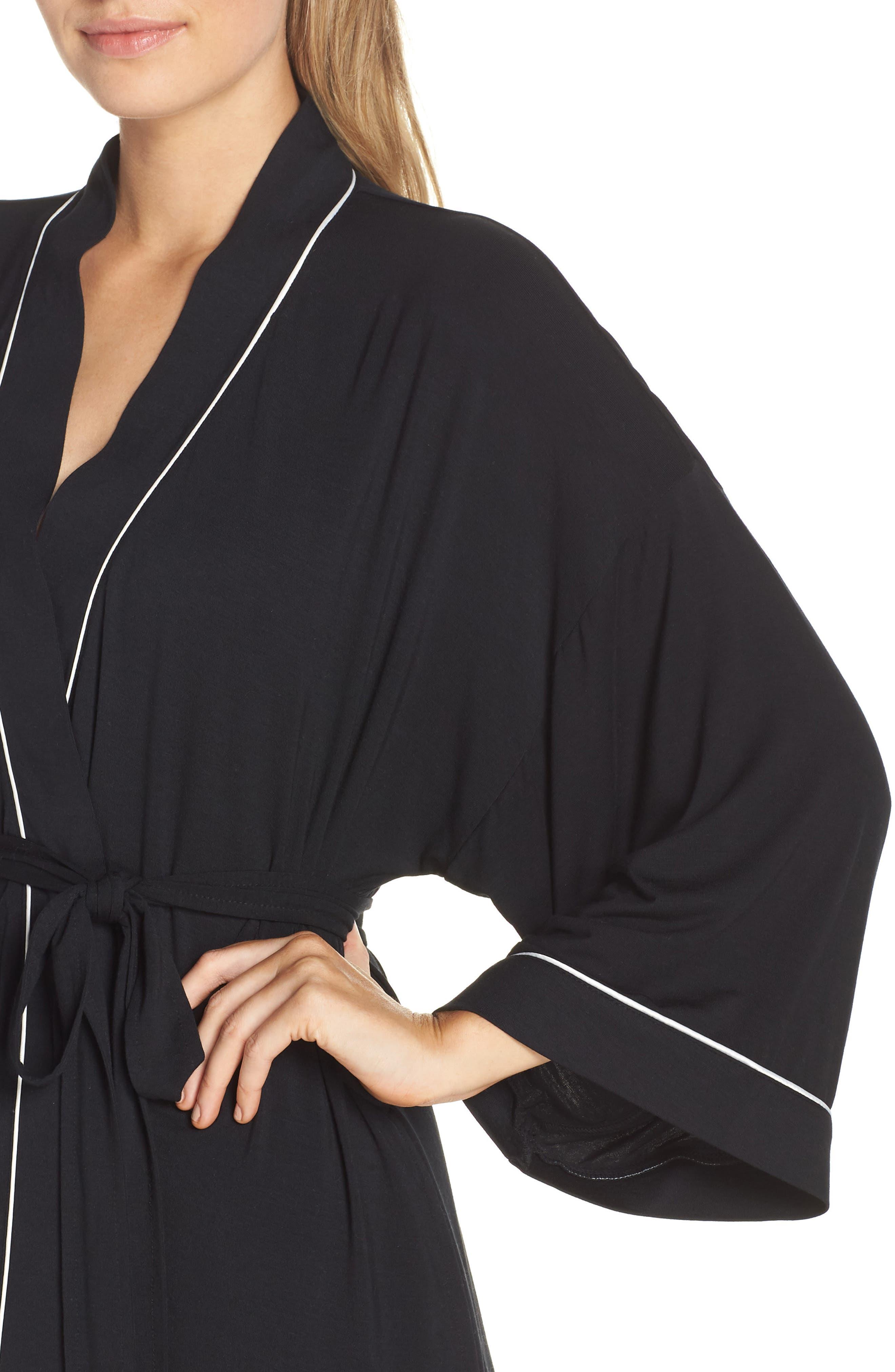 NORDSTROM LINGERIE, Moonlight Jersey Robe, Alternate thumbnail 4, color, 001