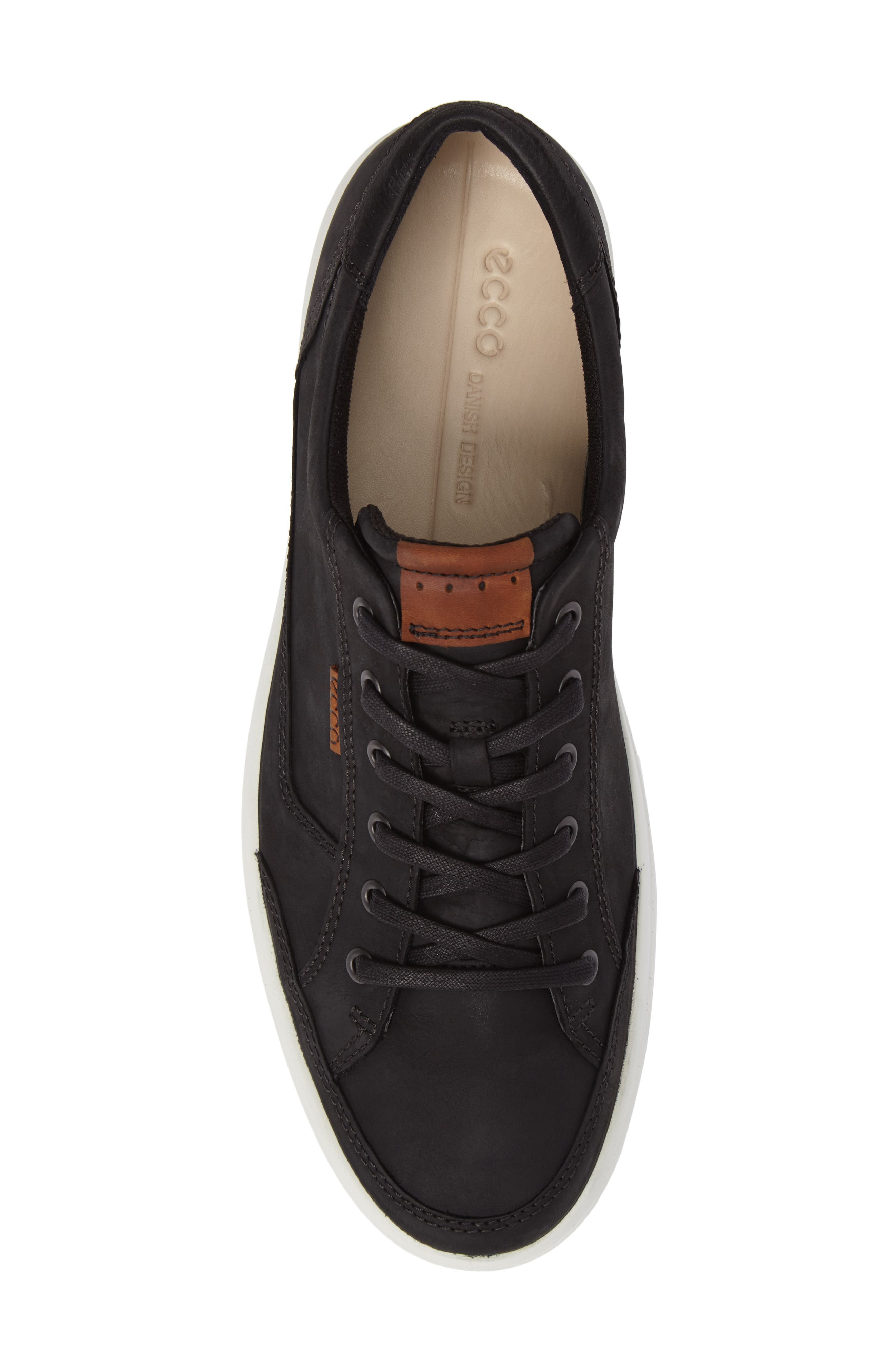 ECCO, Soft 7 Long Lace Sneaker, Alternate thumbnail 5, color, BLACK LEATHER