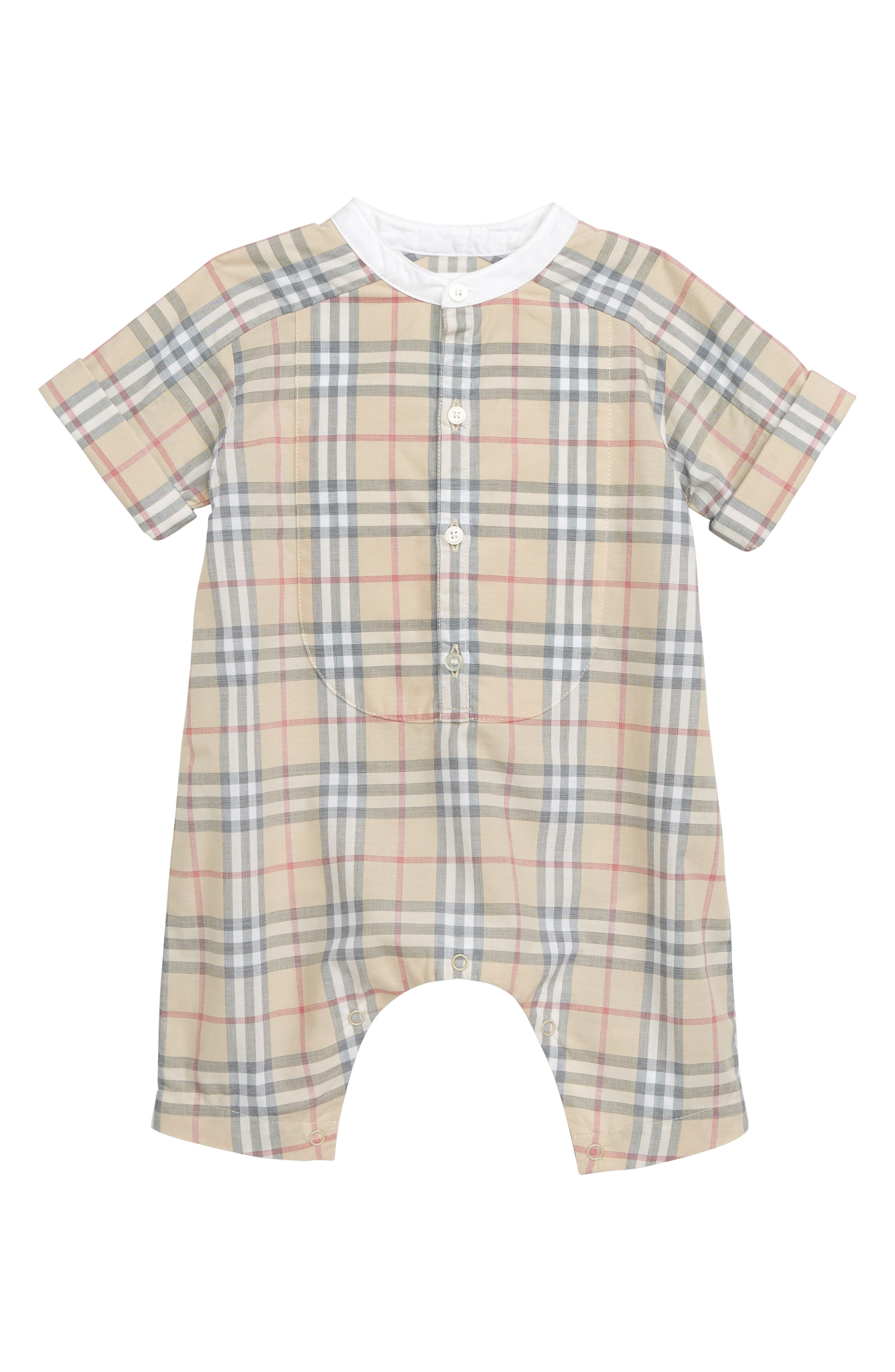 BURBERRY, Colton Check Romper, Main thumbnail 1, color, 250