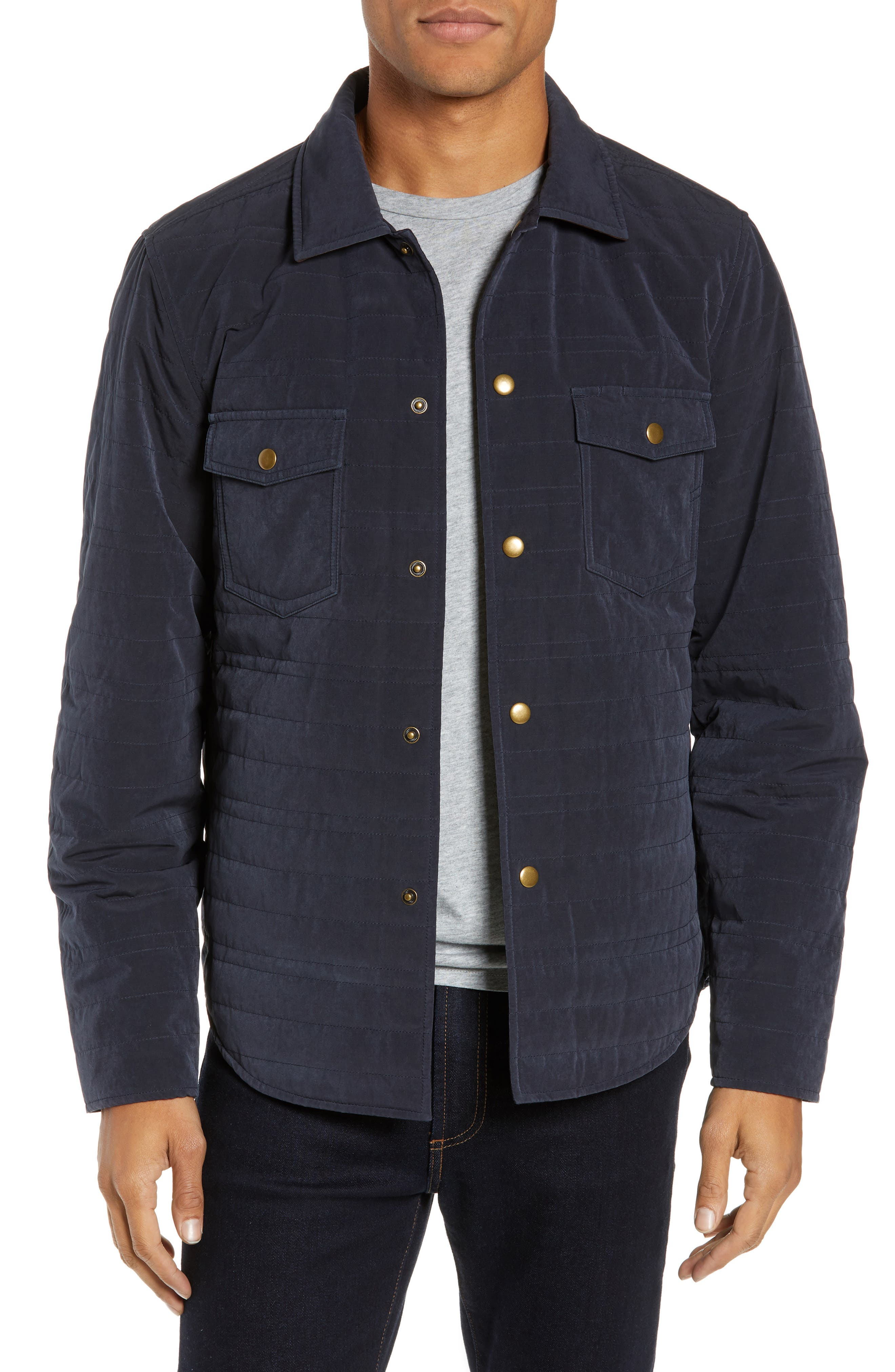 BILLY REID Michael Slim Fit Quilted Shirt Jacket, Main, color, NAVY