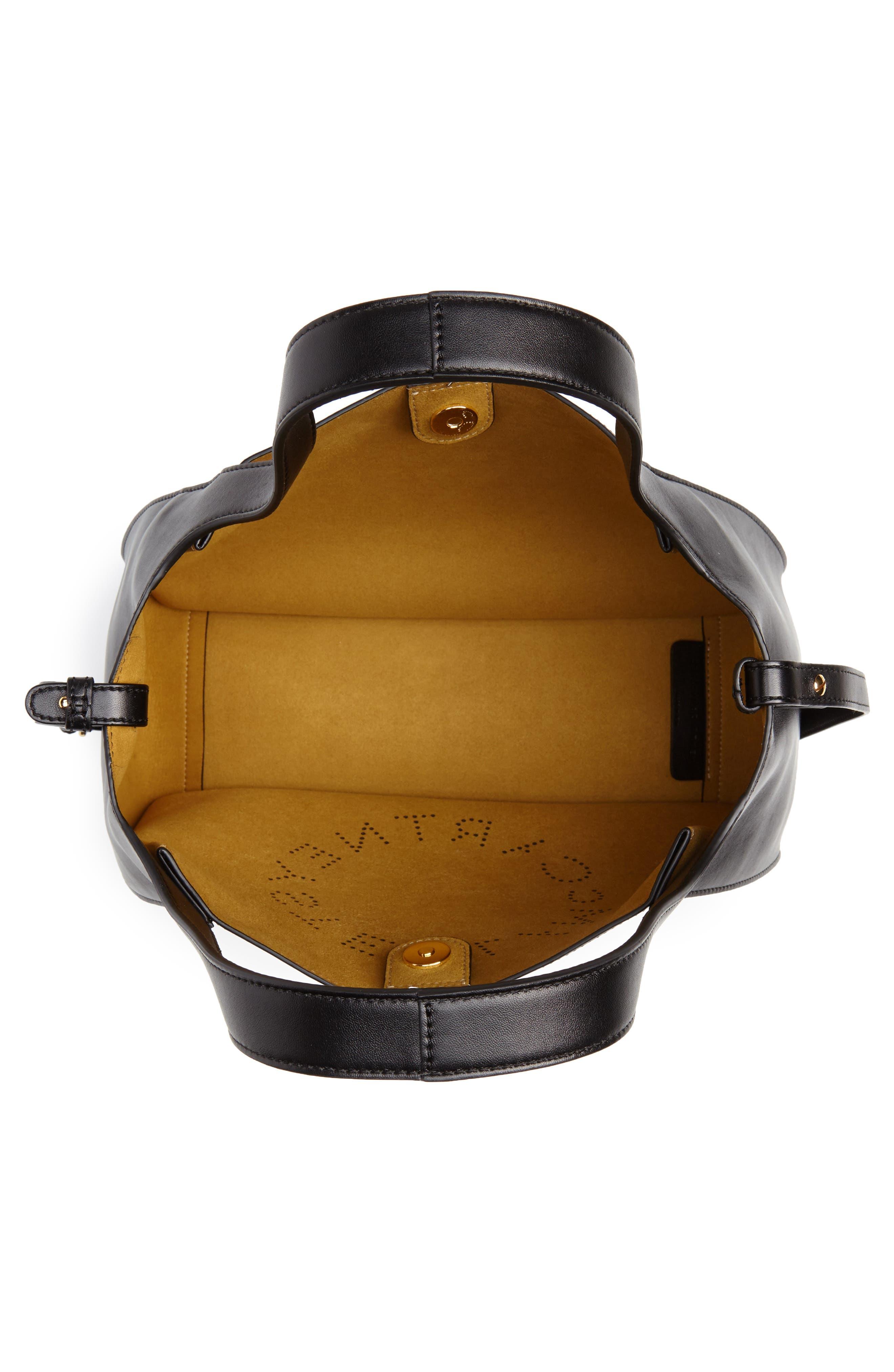 STELLA MCCARTNEY, Perforated Logo Faux Leather Satchel, Alternate thumbnail 4, color, BLACK