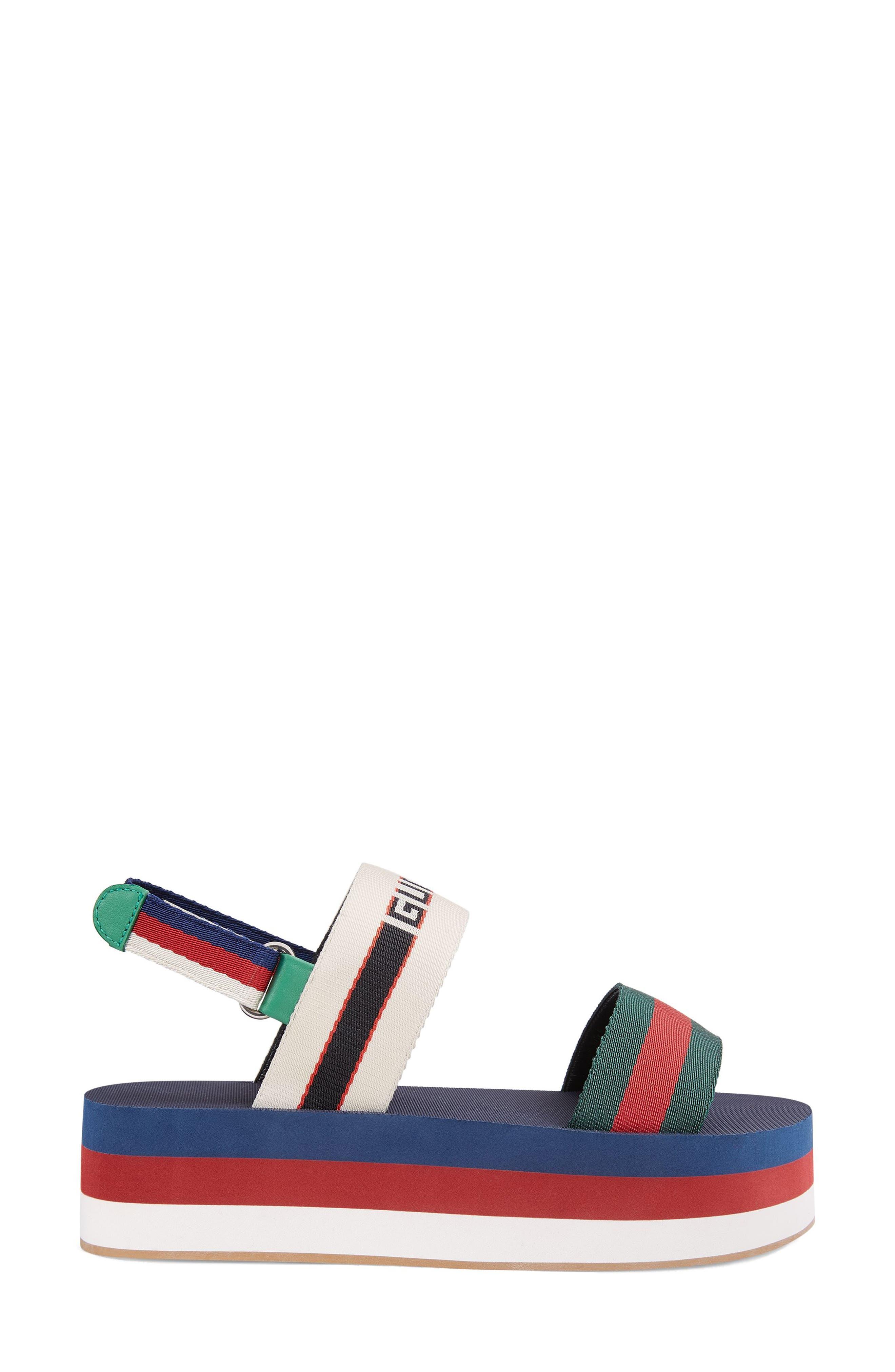 GUCCI, Bedlam Slingback Flatform Sandal, Alternate thumbnail 2, color, BLUE/ RED