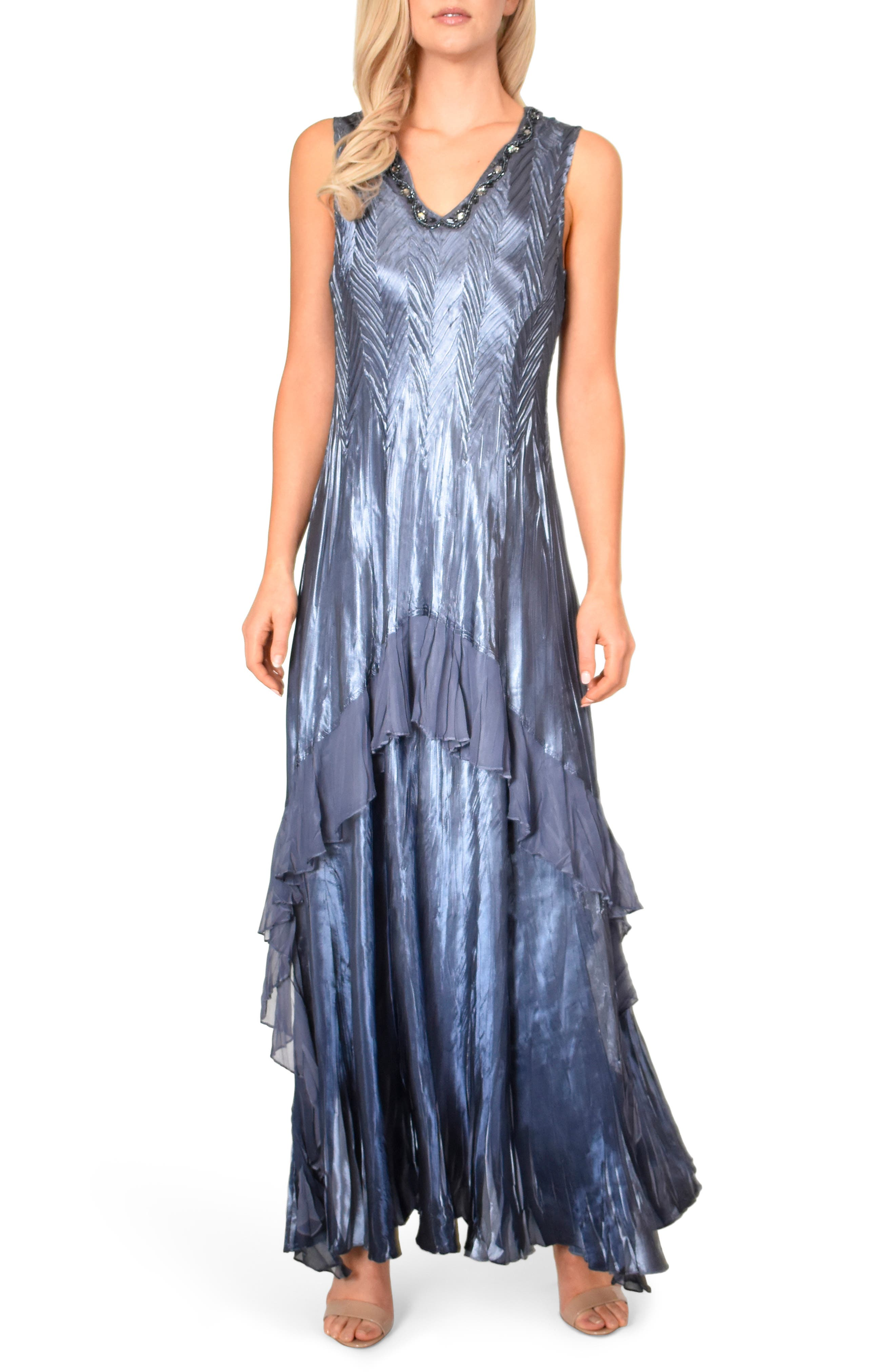 KOMAROV, Beaded V-Neck Charmeuse & Chiffon Evening Dress with Wrap, Alternate thumbnail 5, color, PURPLE SAGE BLUE OMBRE