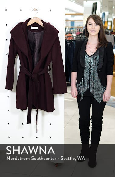 T Tahari Wool Blend Belted Wrap Coat, sales video thumbnail