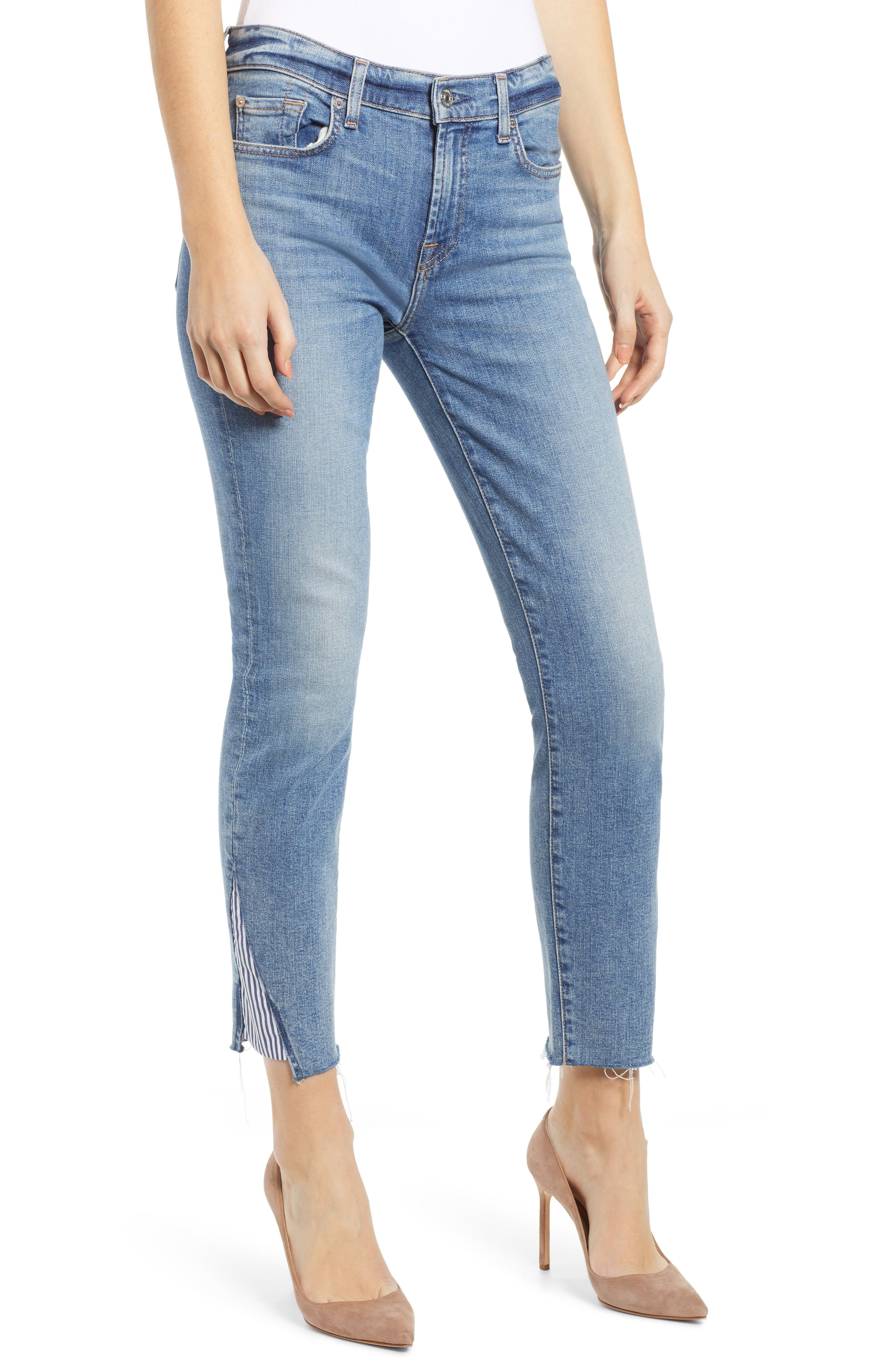7 FOR ALL MANKIND<SUP>®</SUP> Stripe Inset Ankle Skinny Jeans, Main, color, SLOANE VINTAGE