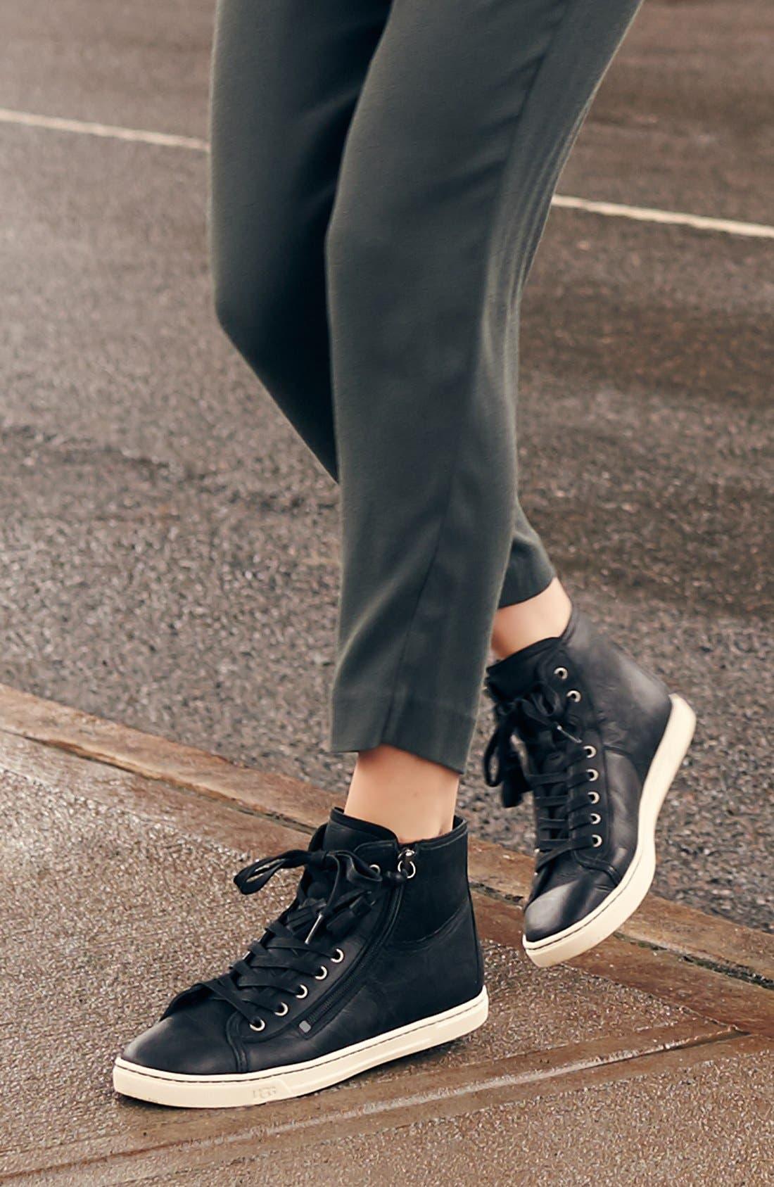 UGG<SUP>®</SUP>, 'Blaney' Tasseled High Top Sneaker, Main thumbnail 1, color, 001