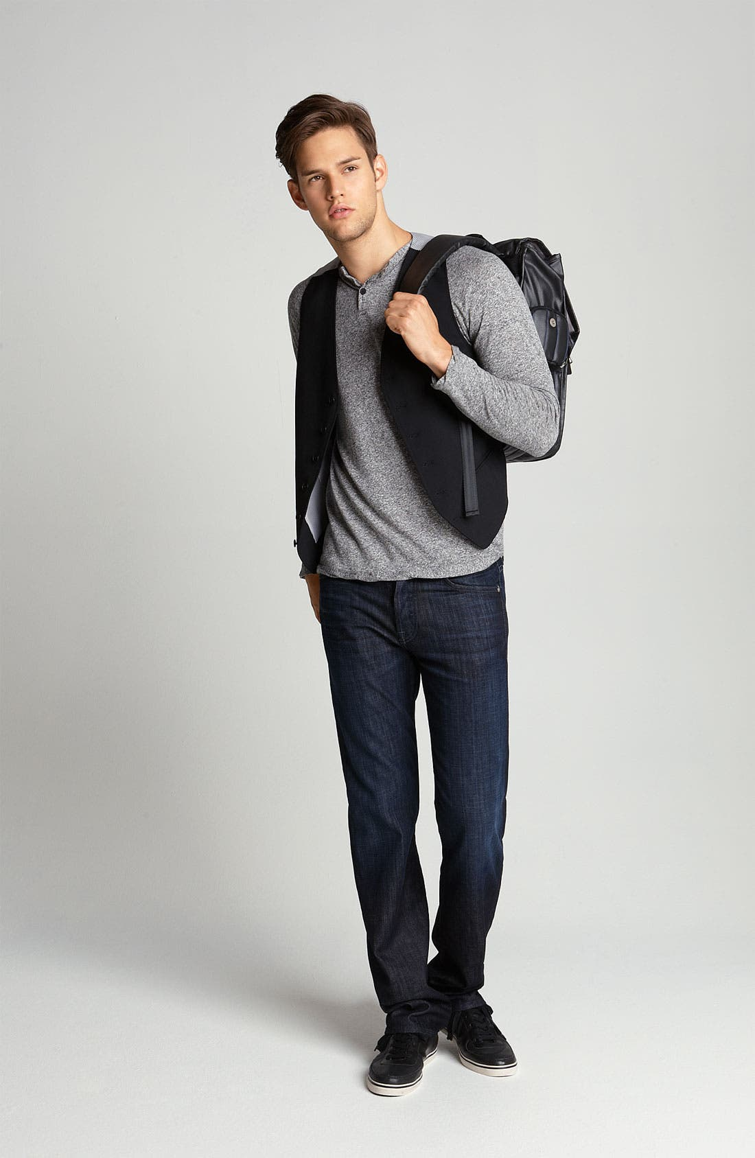 7 FOR ALL MANKIND<SUP>®</SUP>, 'Standard' Straight Leg Jeans, Alternate thumbnail 3, color, 484