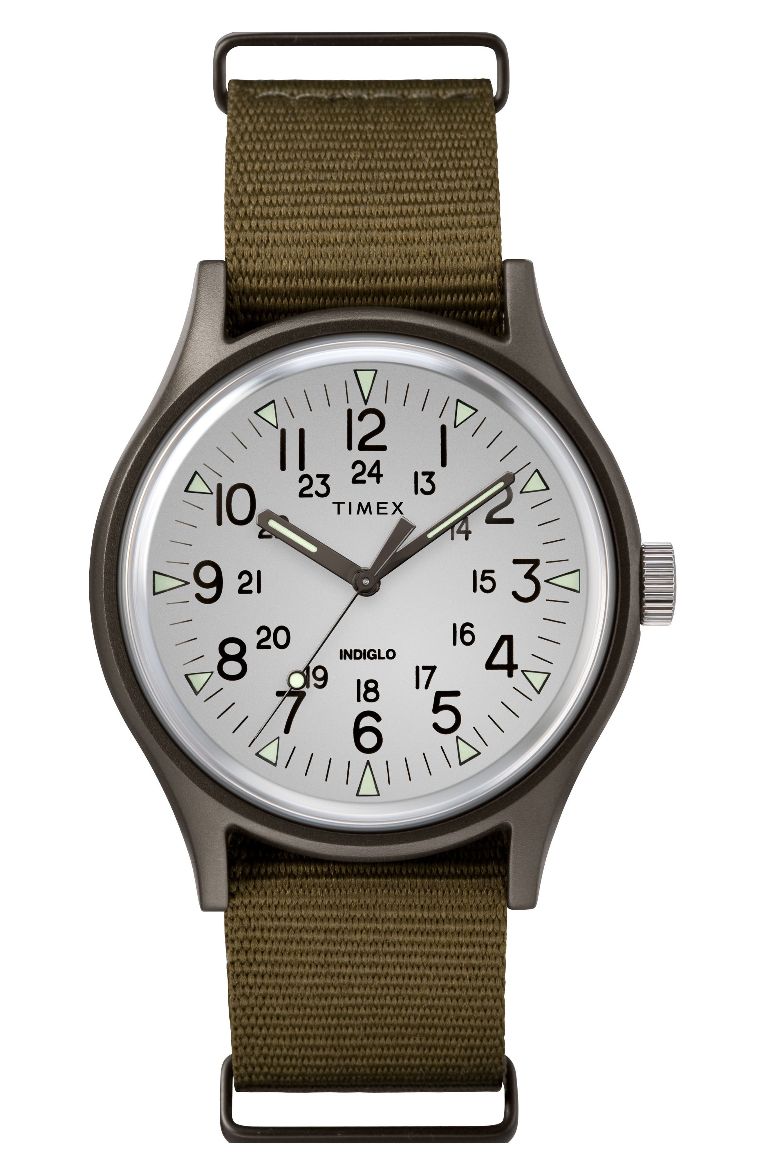 TIMEX<SUP>®</SUP>, Timex MK1 Nylon Strap Watch, 40mm, Main thumbnail 1, color, OLIVE/ SILVER/ GREY