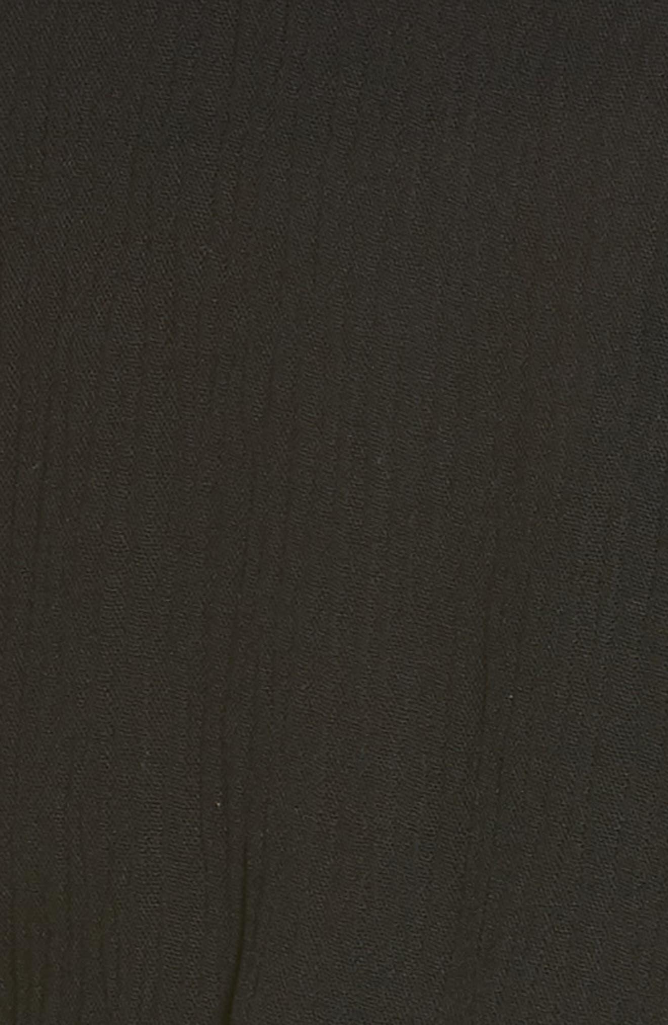 ELAN, Ruffle Sleeve Cover-Up Romper, Alternate thumbnail 6, color, BLACK