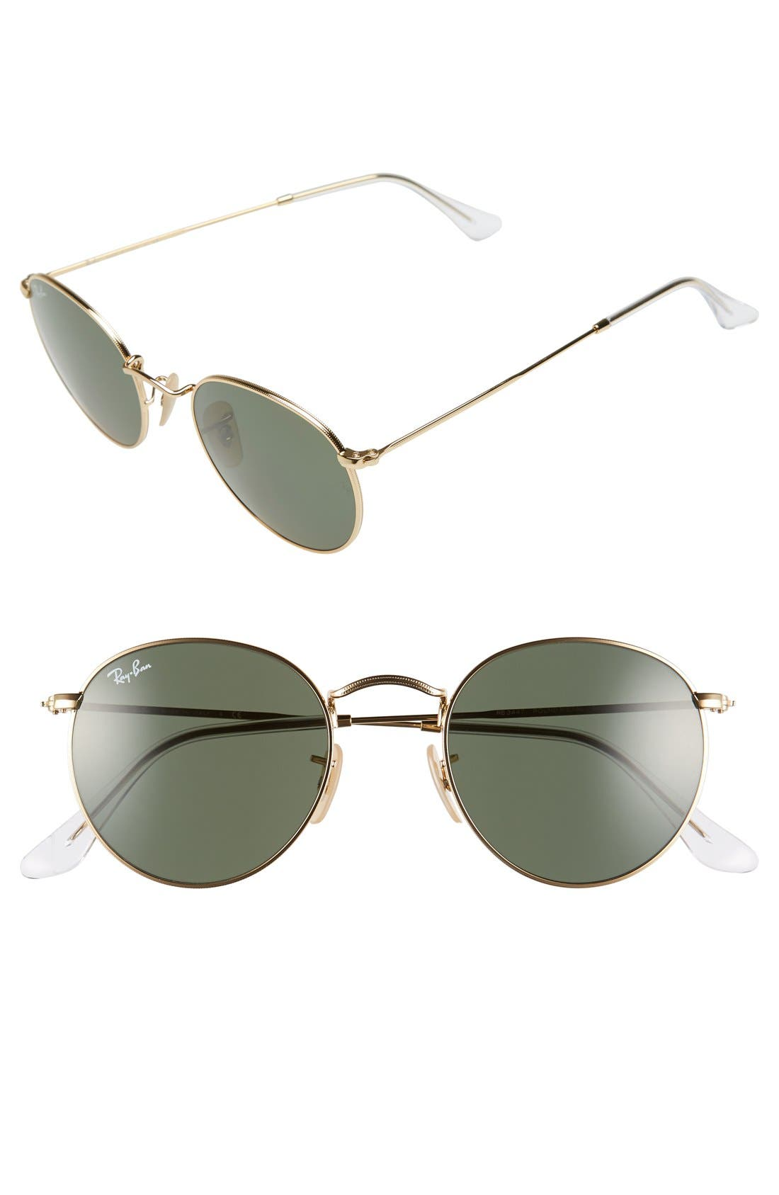 RAY-BAN, 50mm Round Sunglasses, Main thumbnail 1, color, GOLD/ GREEN
