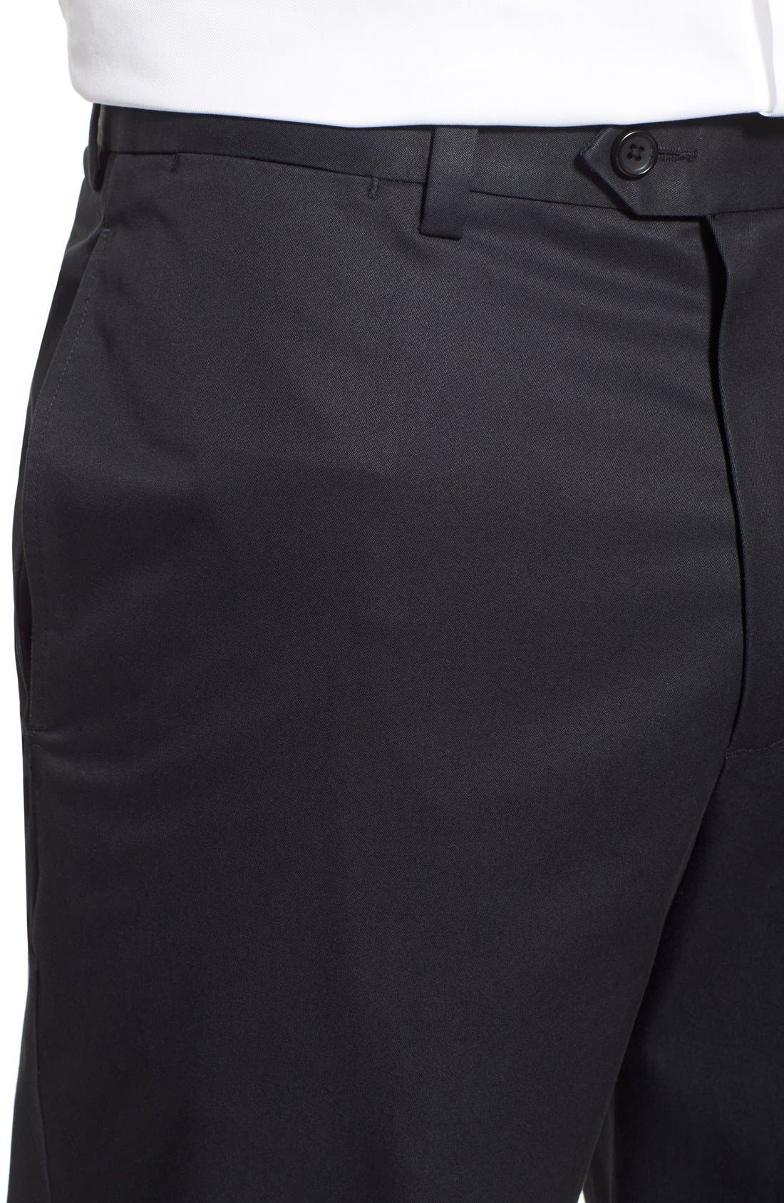 NORDSTROM MEN'S SHOP, Smartcare<sup>™</sup> Classic Supima<sup>®</sup> Cotton Flat Front Trousers, Alternate thumbnail 6, color, BLACK CAVIAR