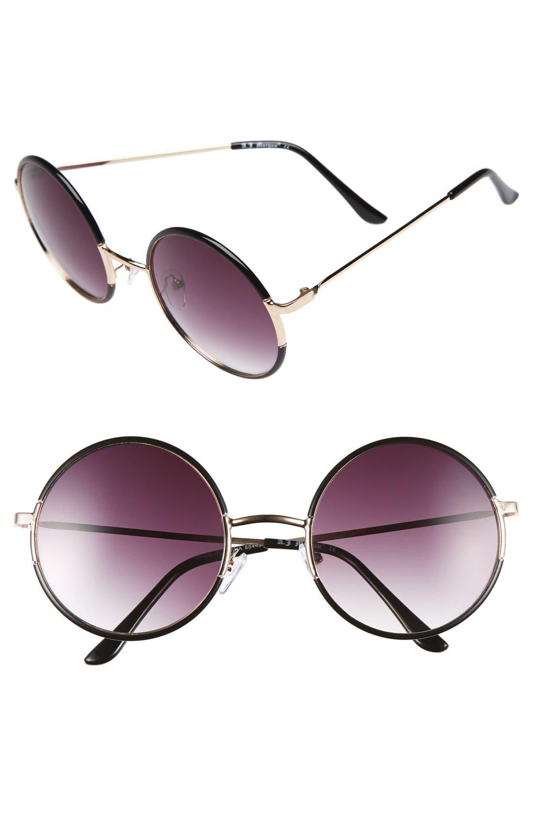 A.J. MORGAN, 'Oh Nice' 55mm Round Sunglasses, Main thumbnail 1, color, 001