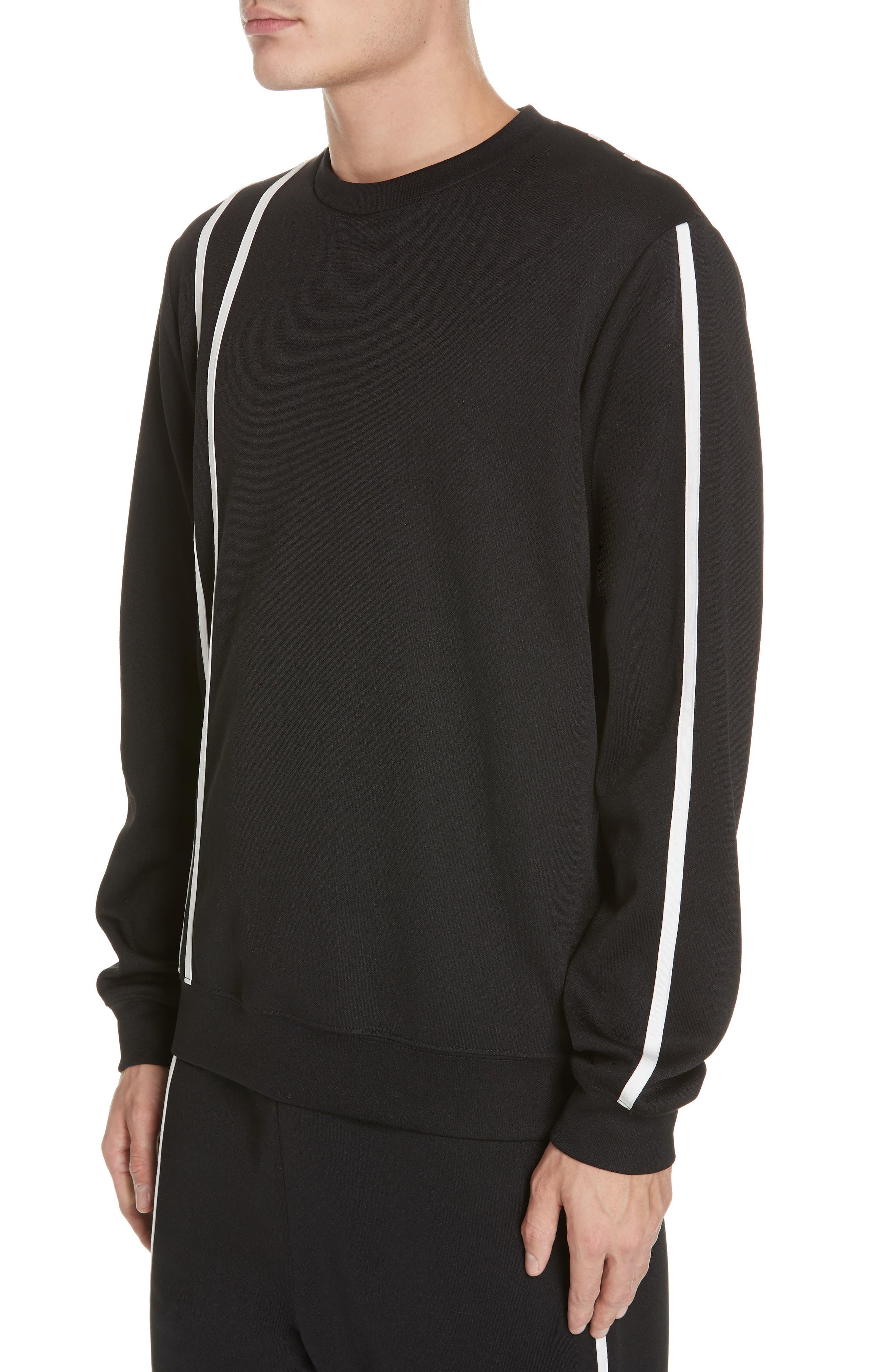 HELMUT LANG, Sport Stripe Print Sweatshirt, Alternate thumbnail 4, color, BLACK AND WHITE