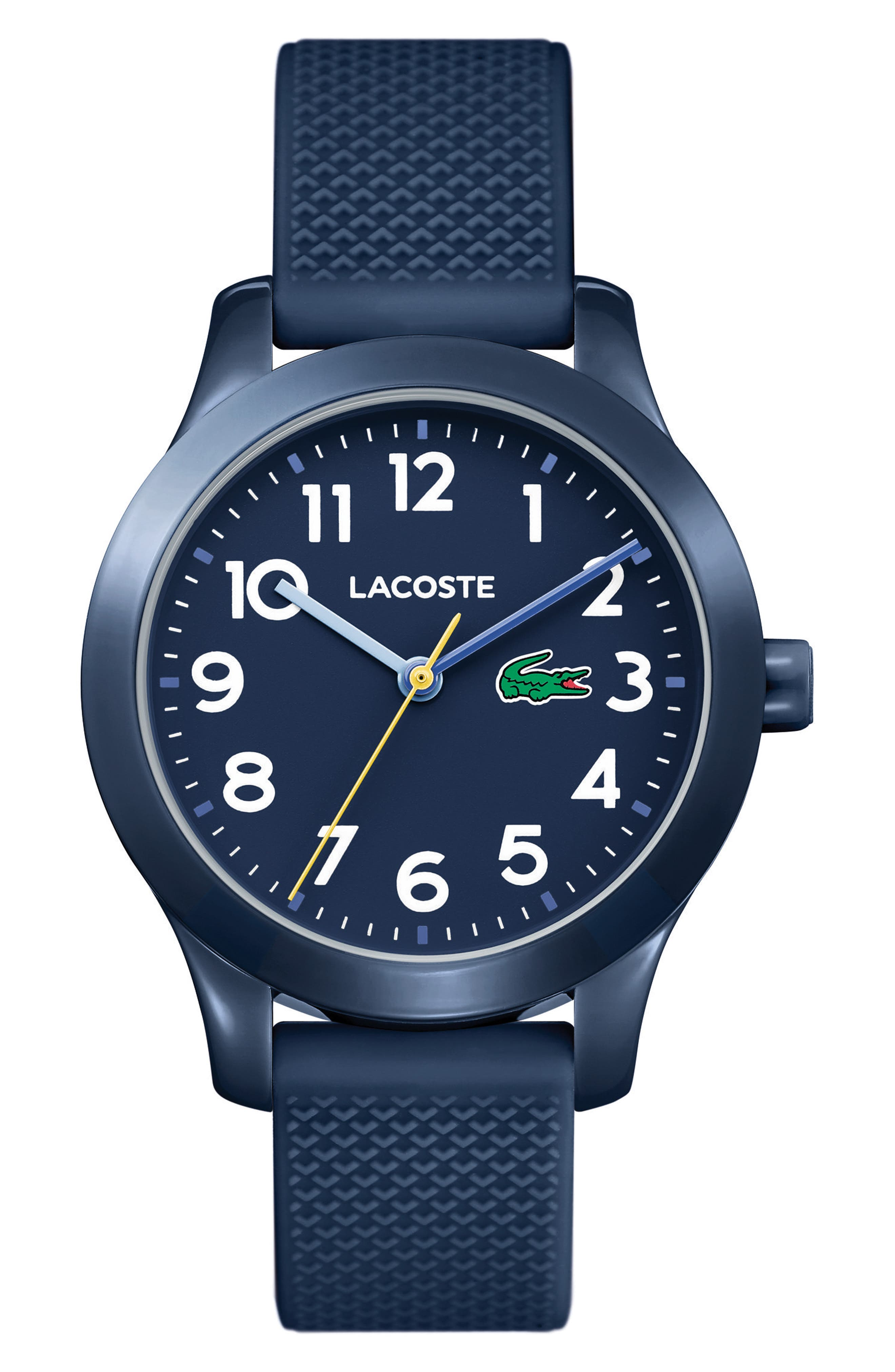 LACOSTE Kids 12.12 Silicone Strap Watch, 32mm, Main, color, BLUE