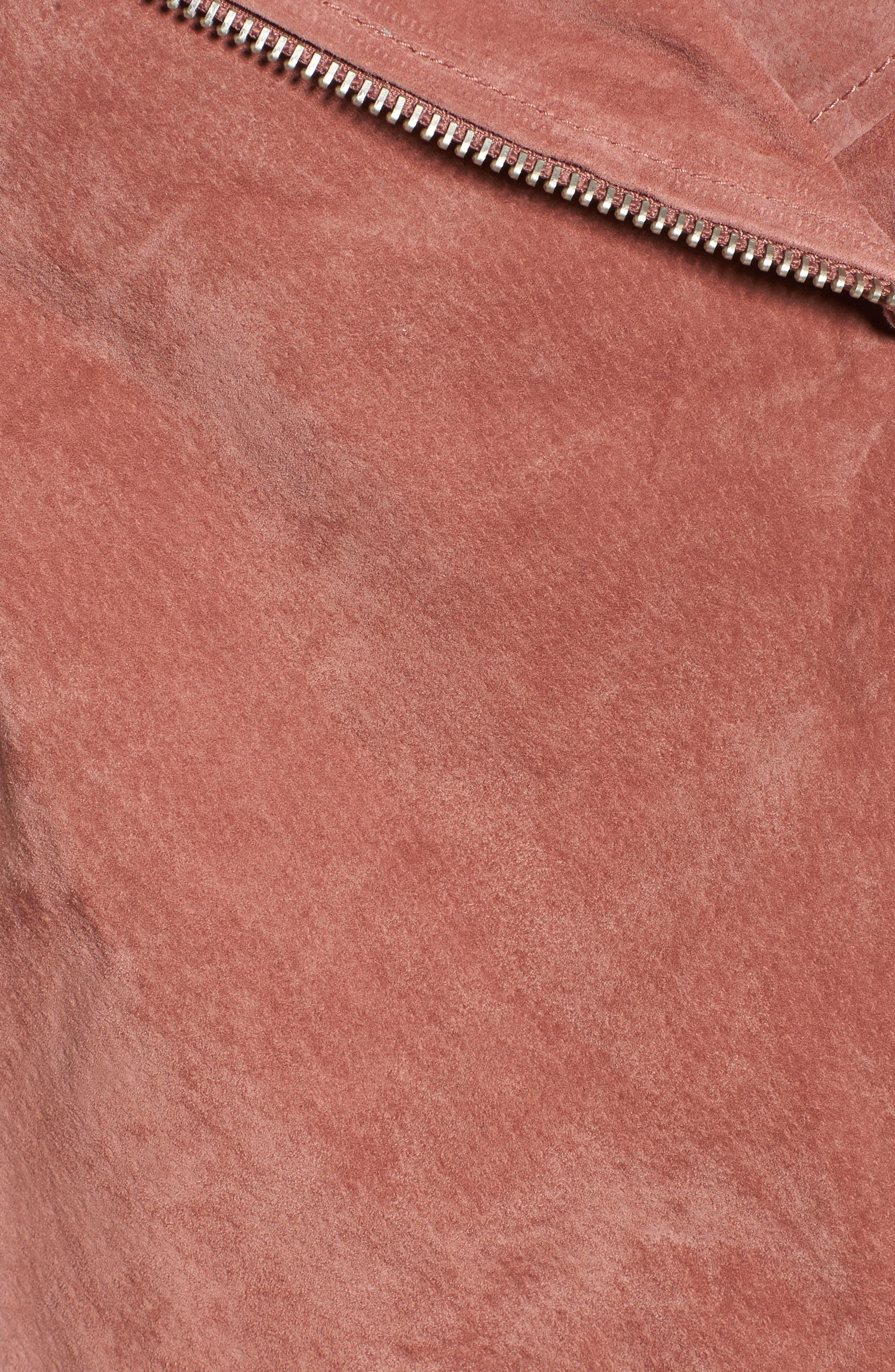 BLANKNYC, Suede Moto Jacket, Alternate thumbnail 7, color, 201